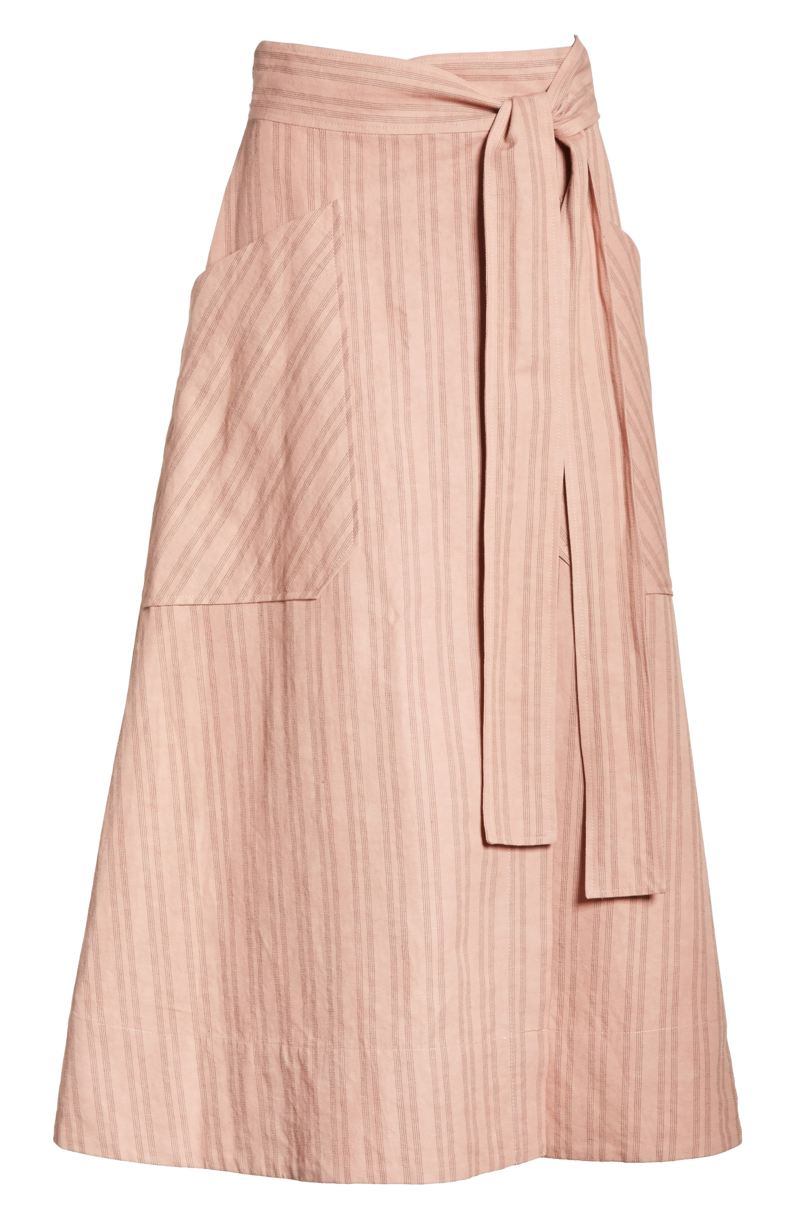 Stripe Wrap Midi Skirt,                             Alternate thumbnail 6, color,                             Rose Hip/ Black