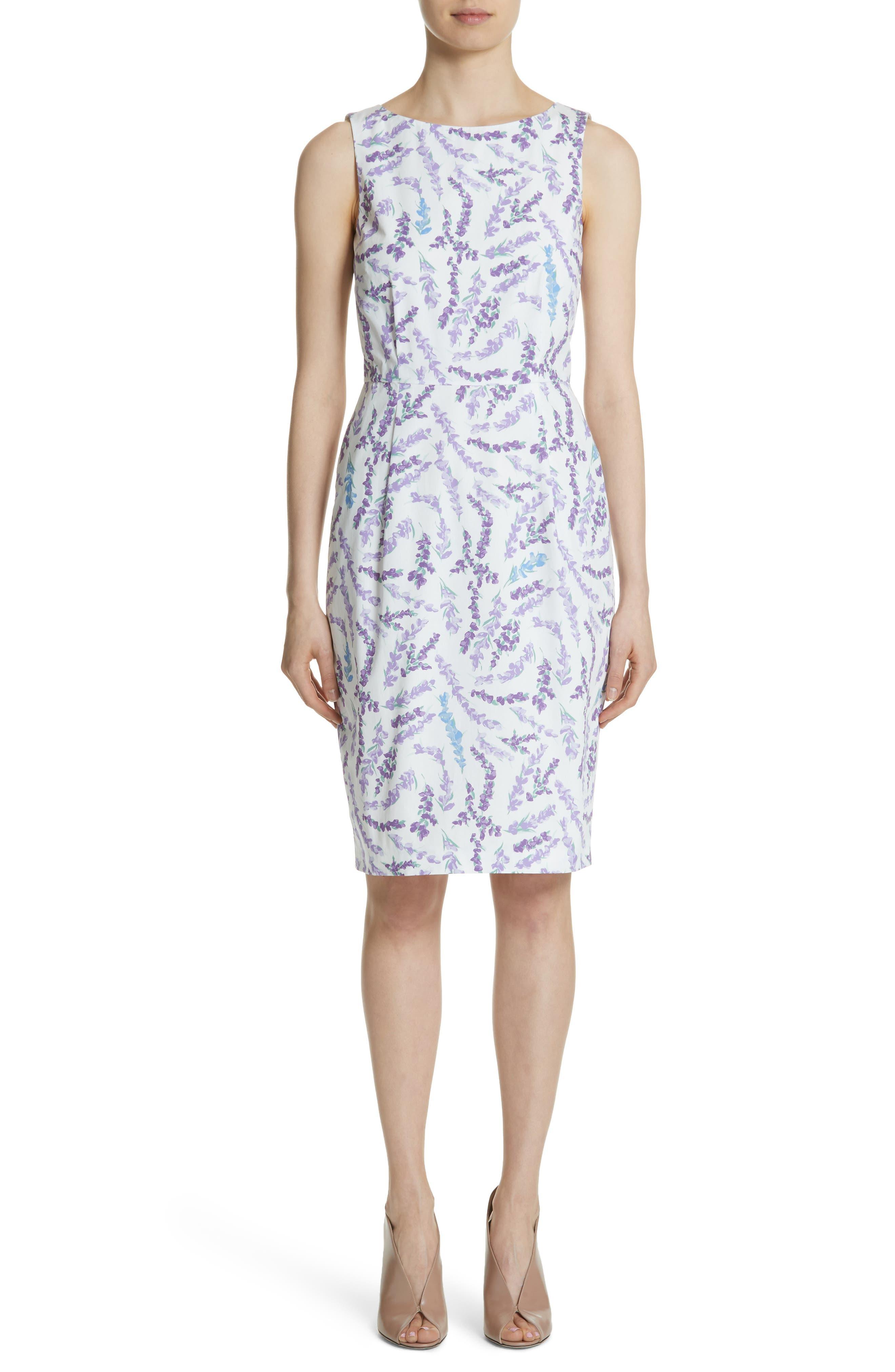 Melfi Print Cotton Sheath Dress,                         Main,                         color, Lavender