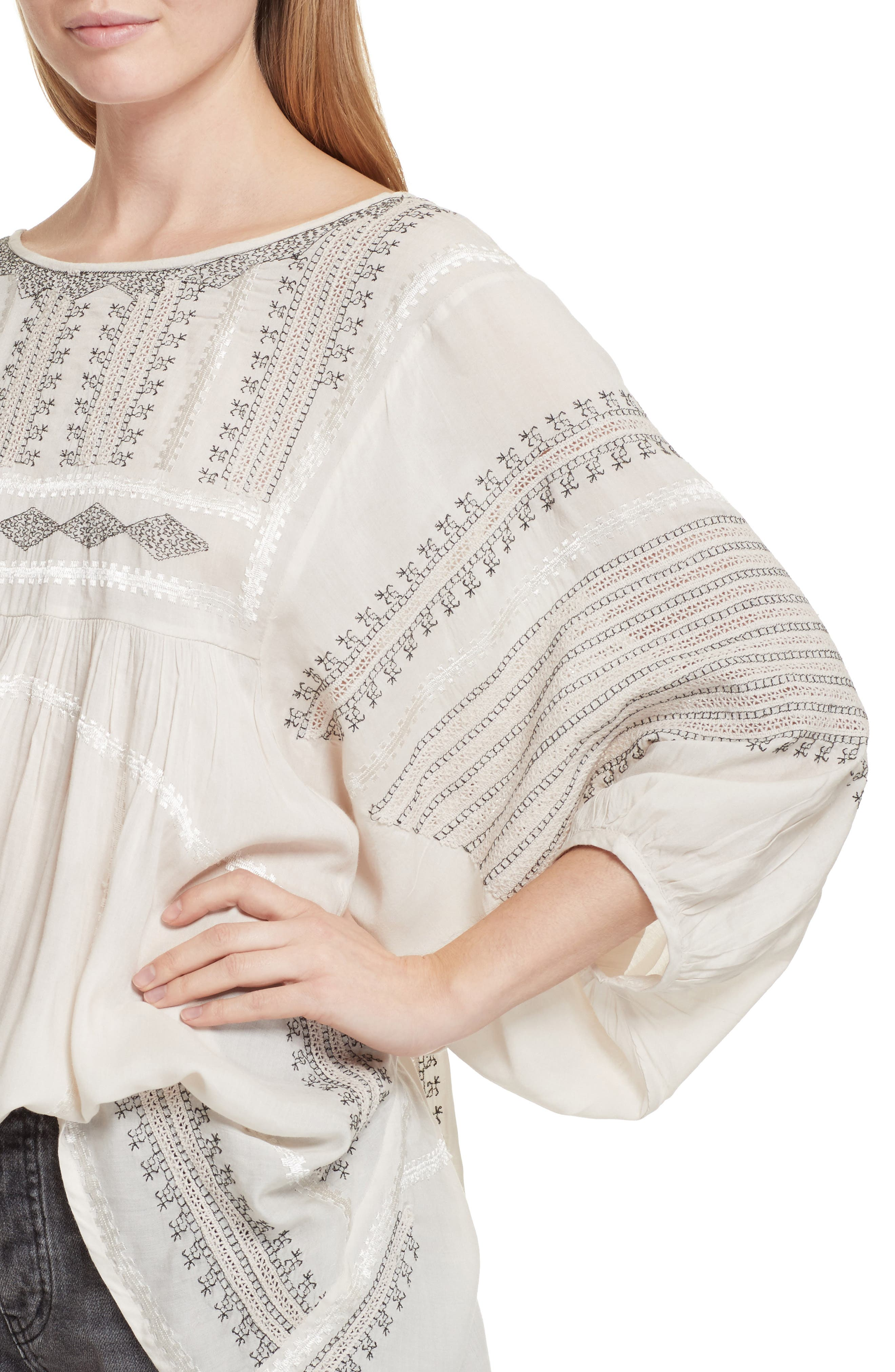 Wild One Embroidered Top,                             Alternate thumbnail 4, color,                             Ivory