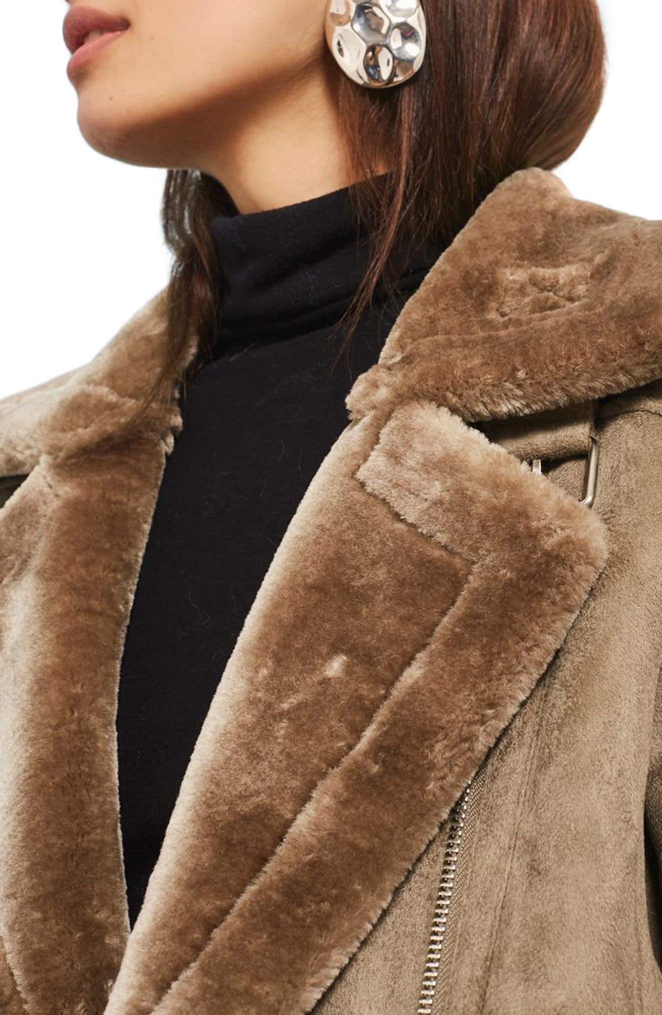 Alternate Image 4  - Topshop Faux Shearling Biker Jacket