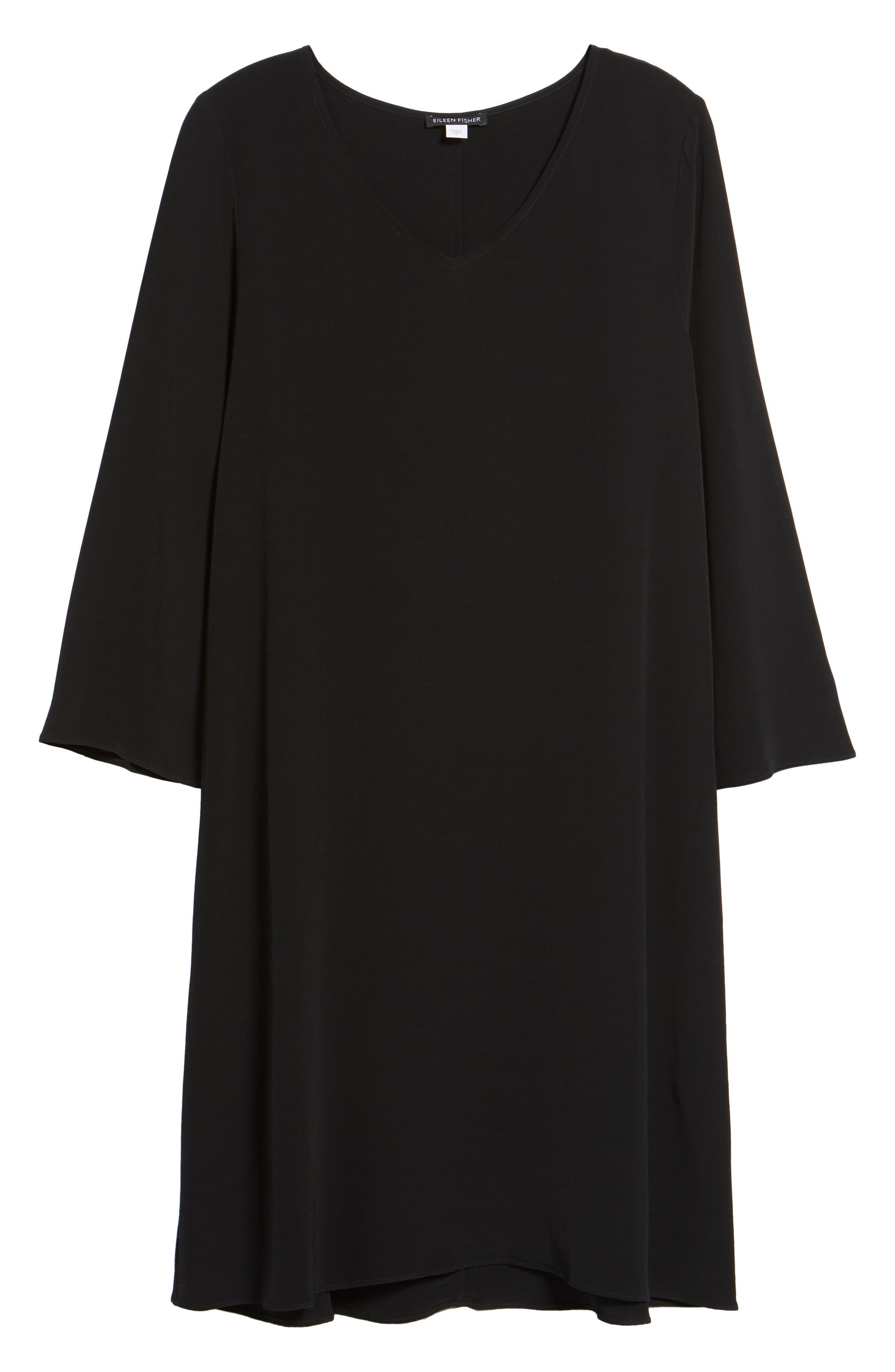 V-Neck Shift Dress,                             Alternate thumbnail 6, color,                             Black