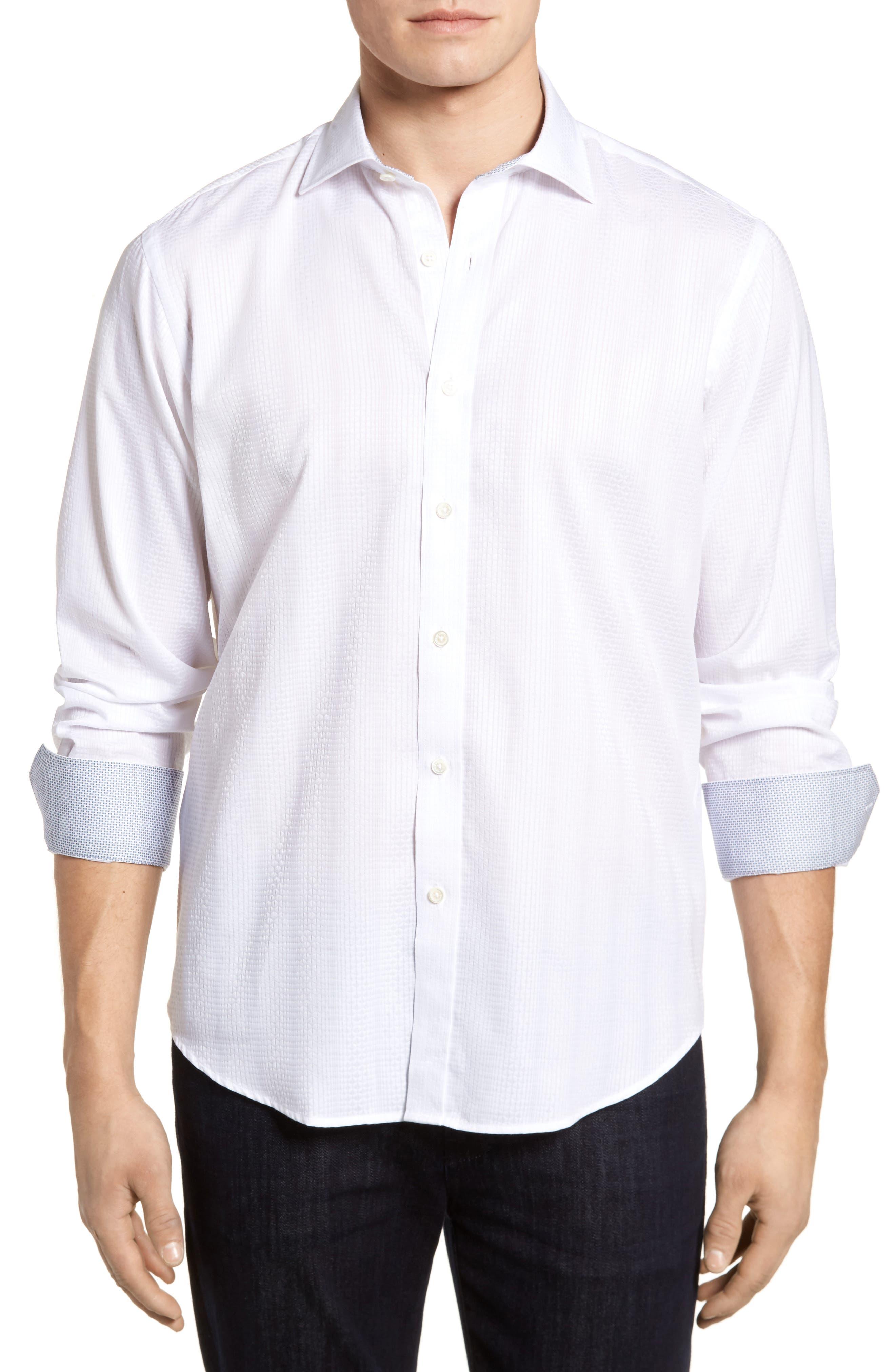 Tonal Diamond Jacquard Classic Fit Sport Shirt,                         Main,                         color, White