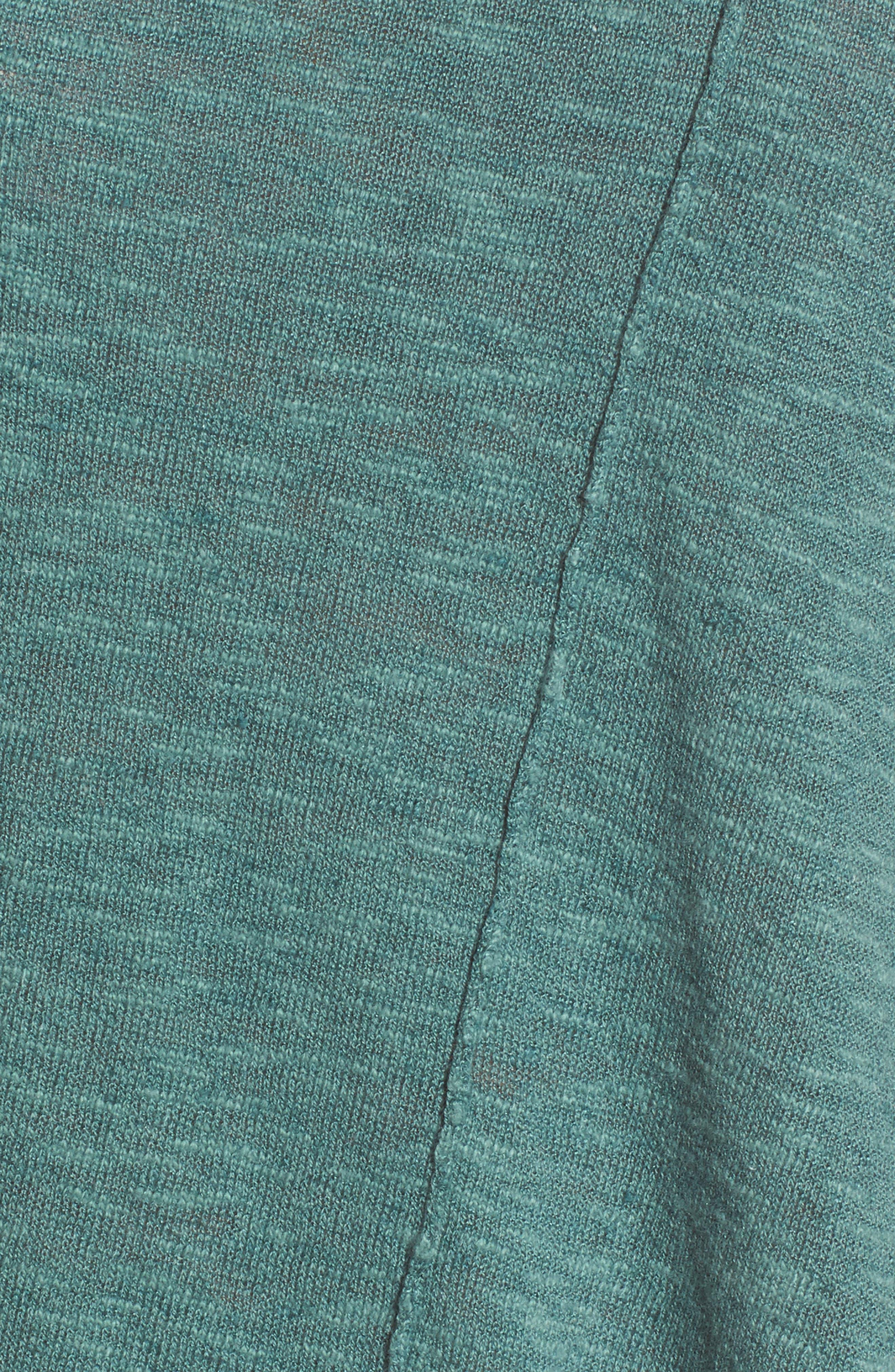 Cap Sleeve Organic Linen & Cotton Scoop Neck Top,                             Alternate thumbnail 5, color,                             Teal