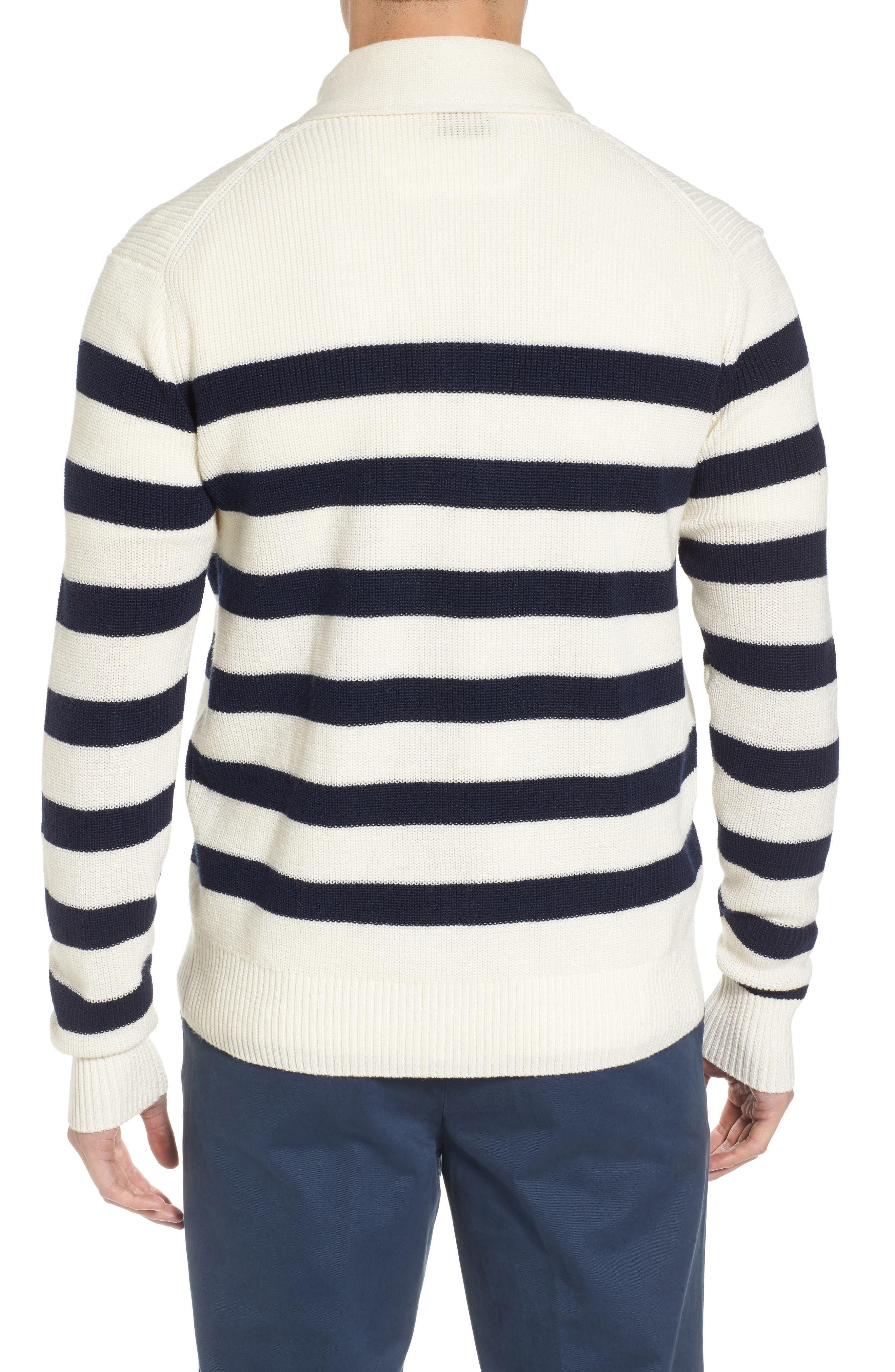 Crown Cool Sailor Stripe Merino Wool & Linen Cardigan,                             Alternate thumbnail 2, color,                             Yankee Blue