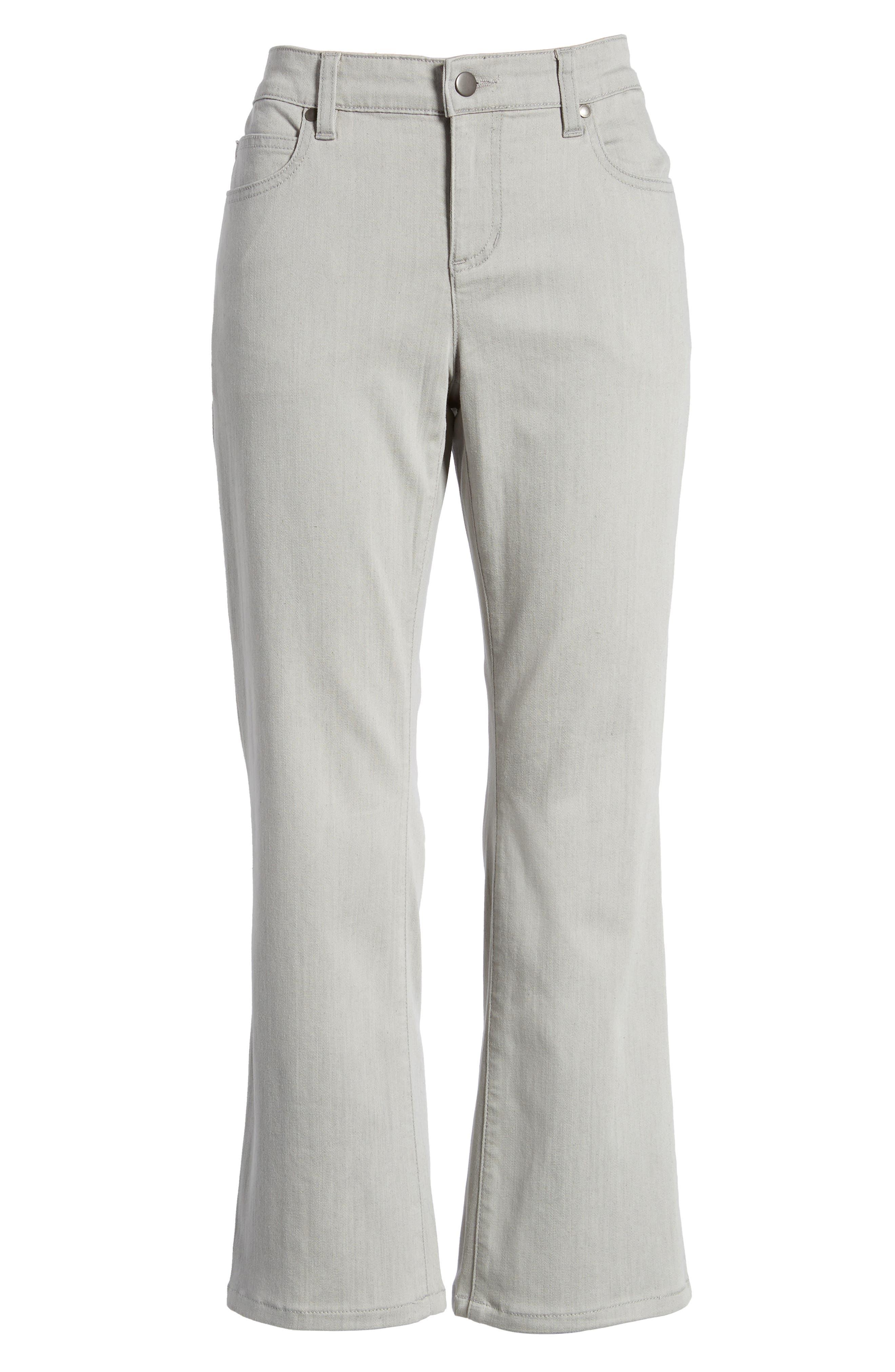 Organic Cotton Blend Crop Flare Jeans,                             Alternate thumbnail 7, color,                             Sun Bleached Gray