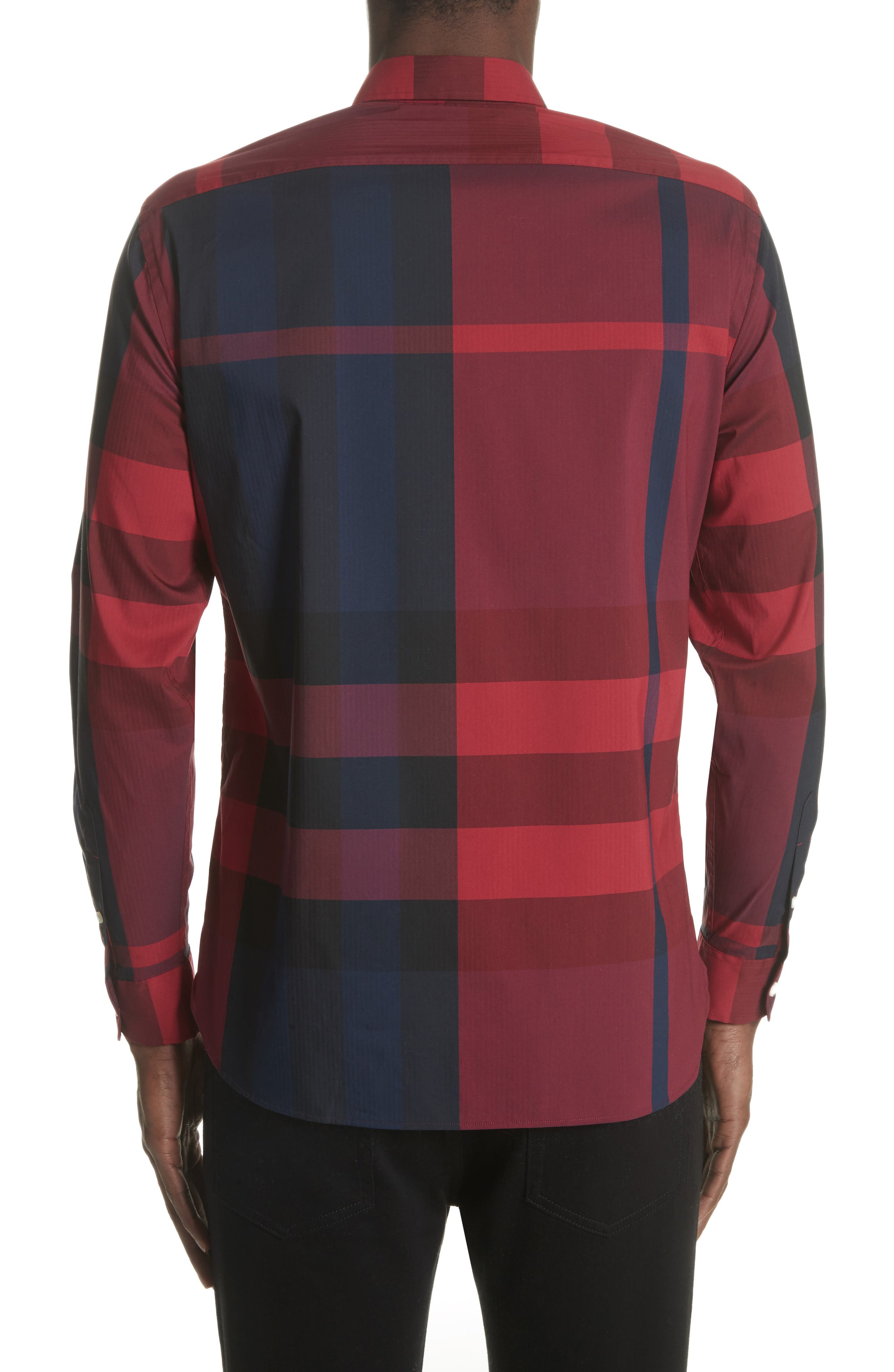 Thornaby Regular Fit Plaid Sport Shirt,                             Alternate thumbnail 3, color,                             Bright Red
