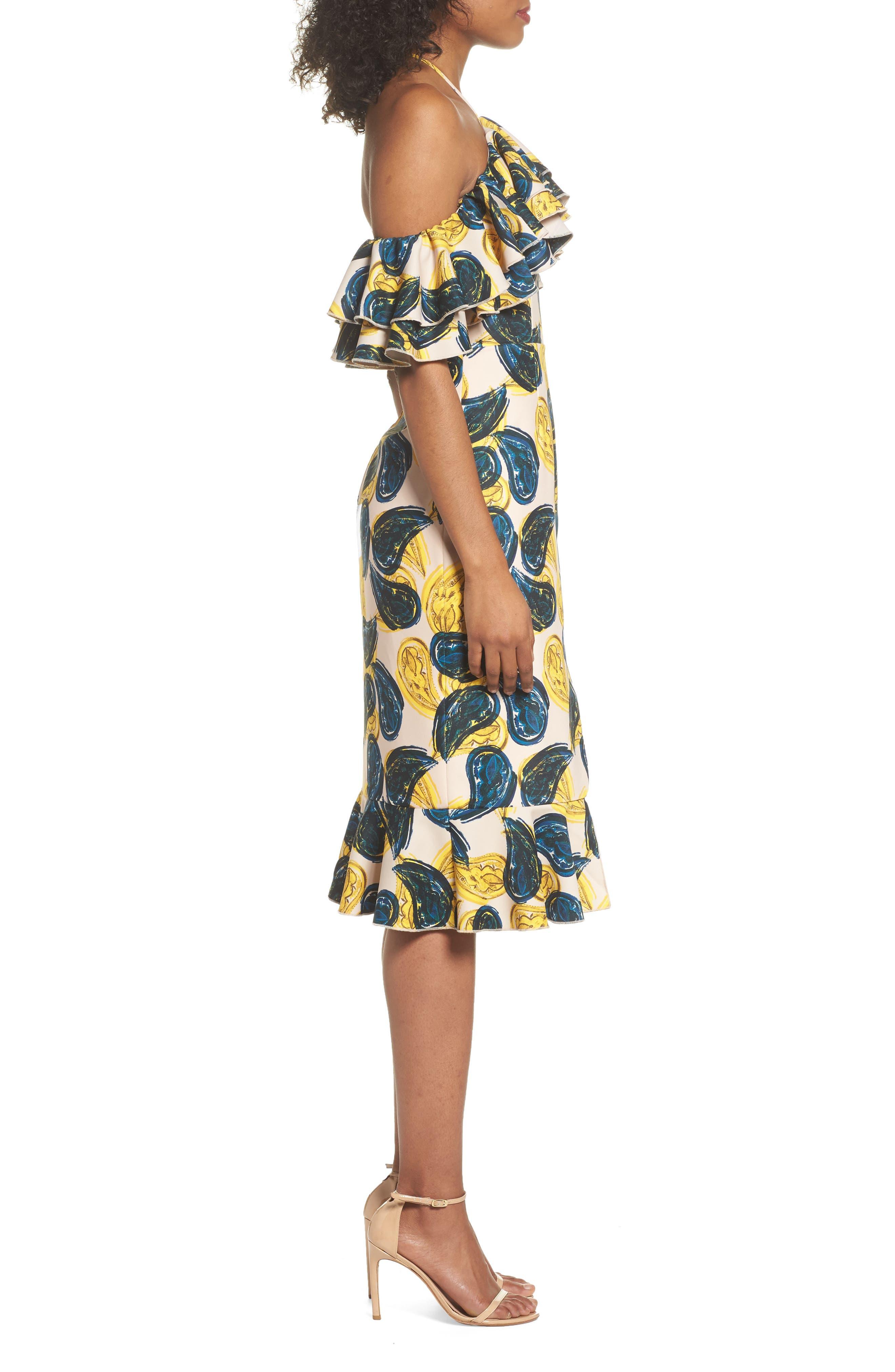 Temptation Halter Sheath Dress,                             Alternate thumbnail 4, color,                             Blush Paisley
