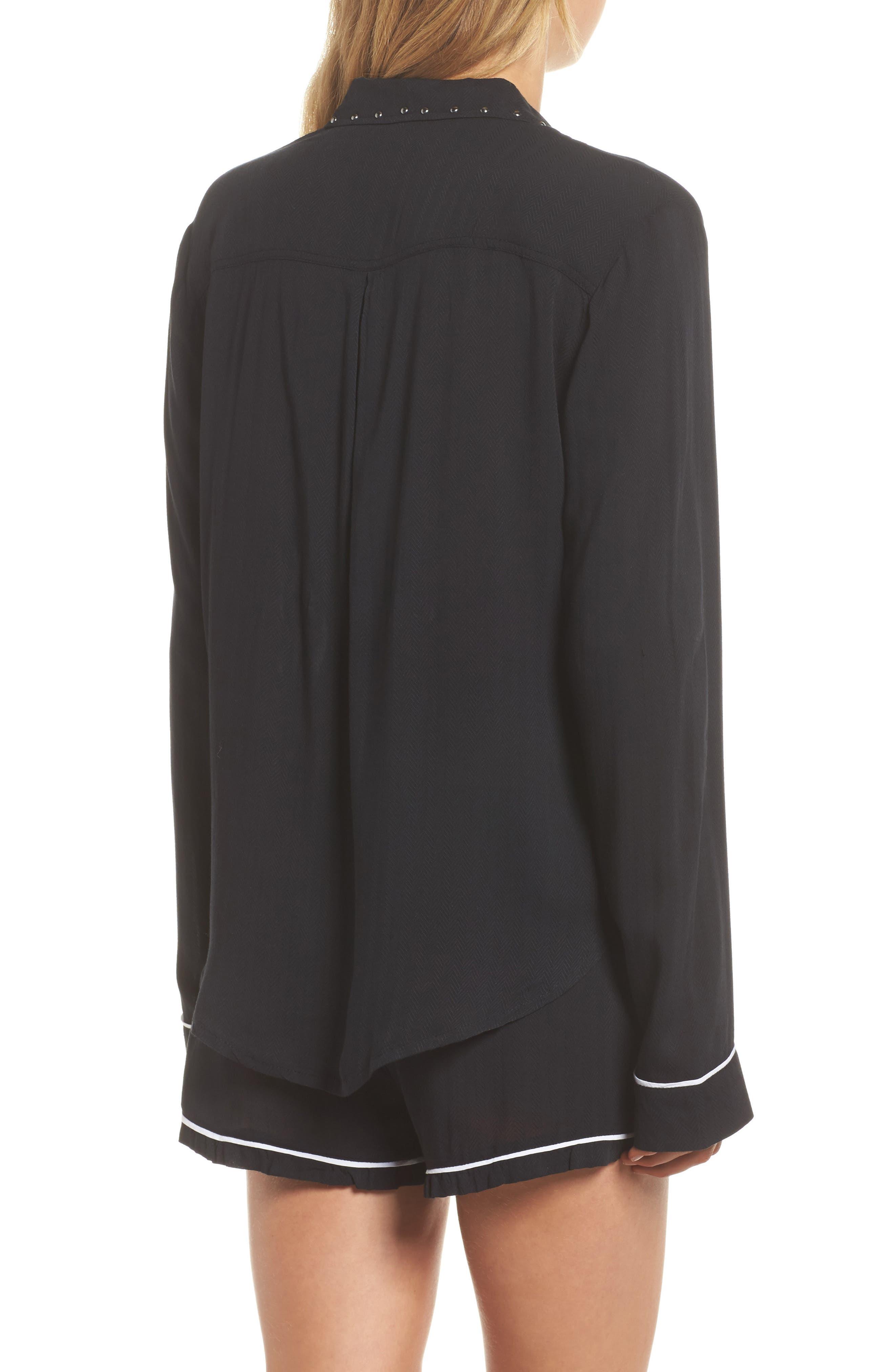 Short Pajamas,                             Alternate thumbnail 2, color,                             Black