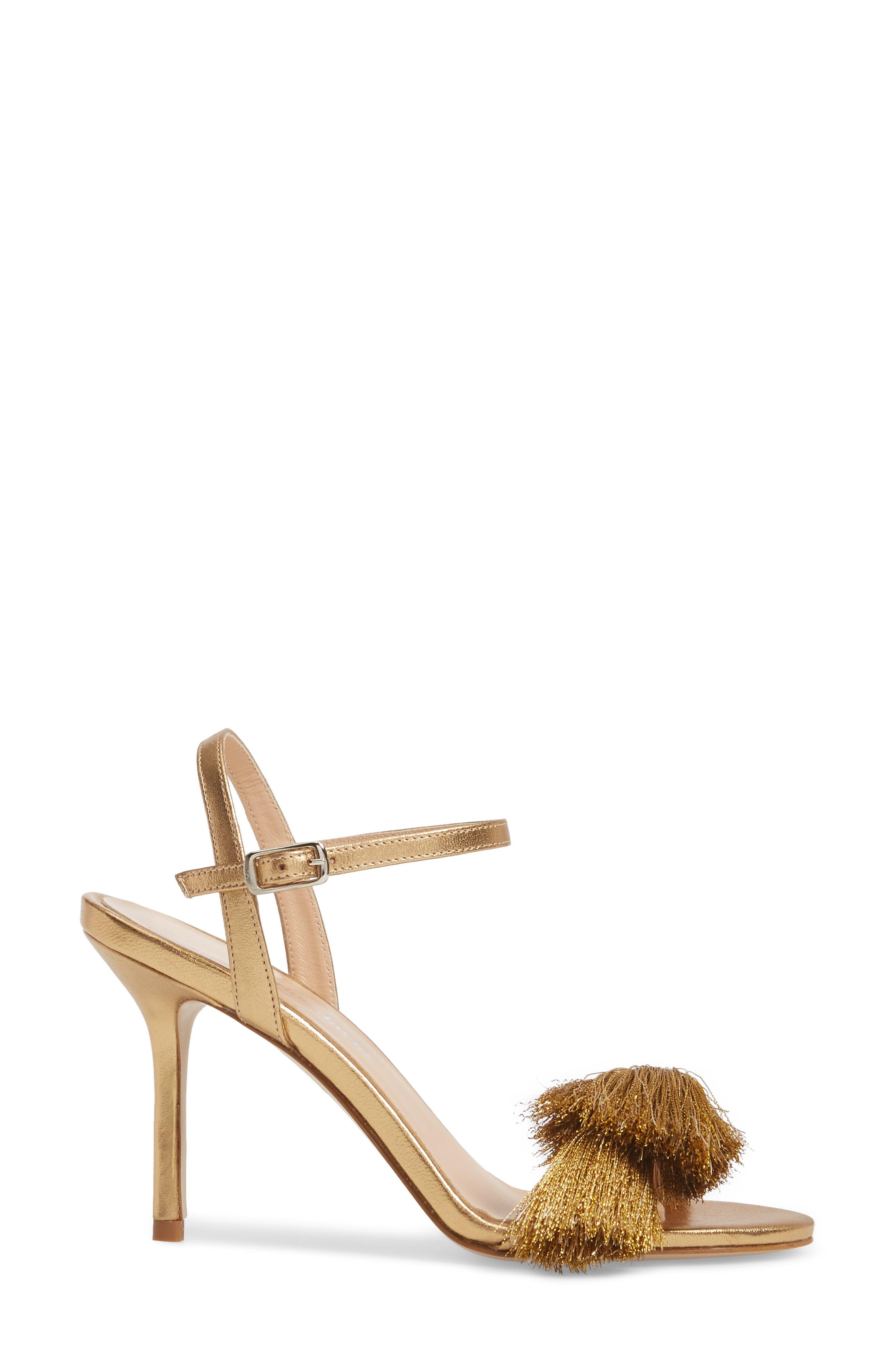 Sassy Tassel Sandal,                             Alternate thumbnail 3, color,                             Gold Leather