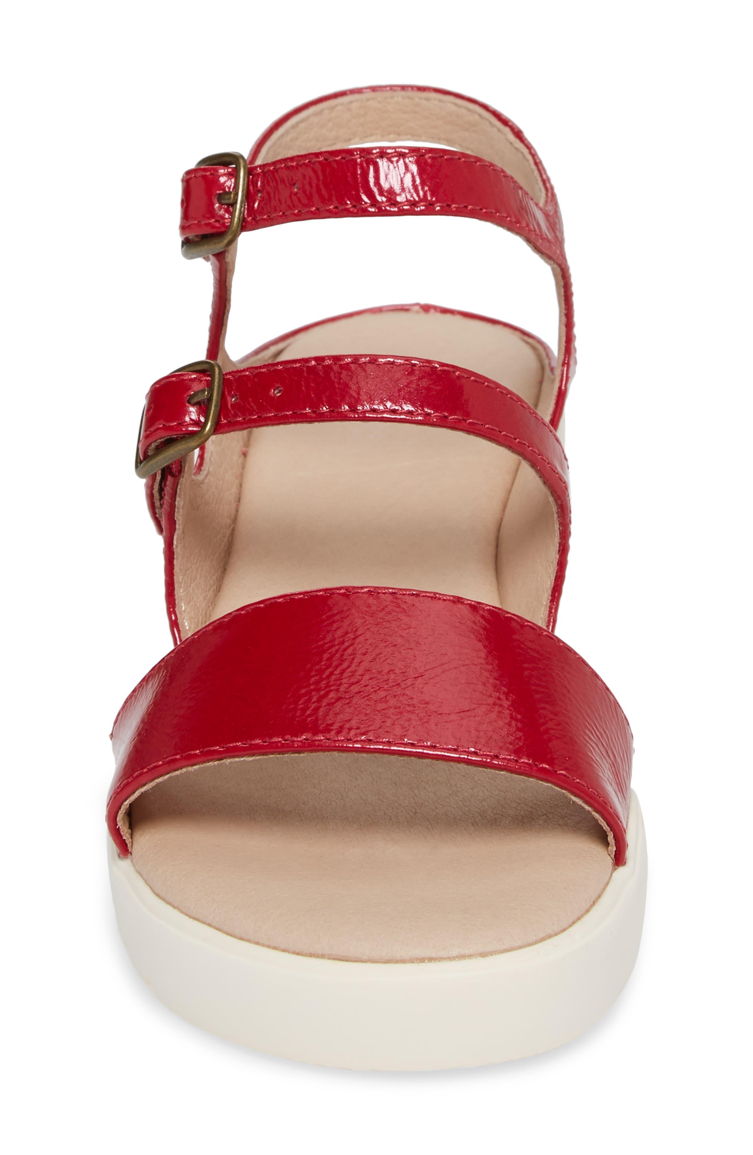 Clara Sandal,                             Alternate thumbnail 4, color,                             Red Crinkle Patent