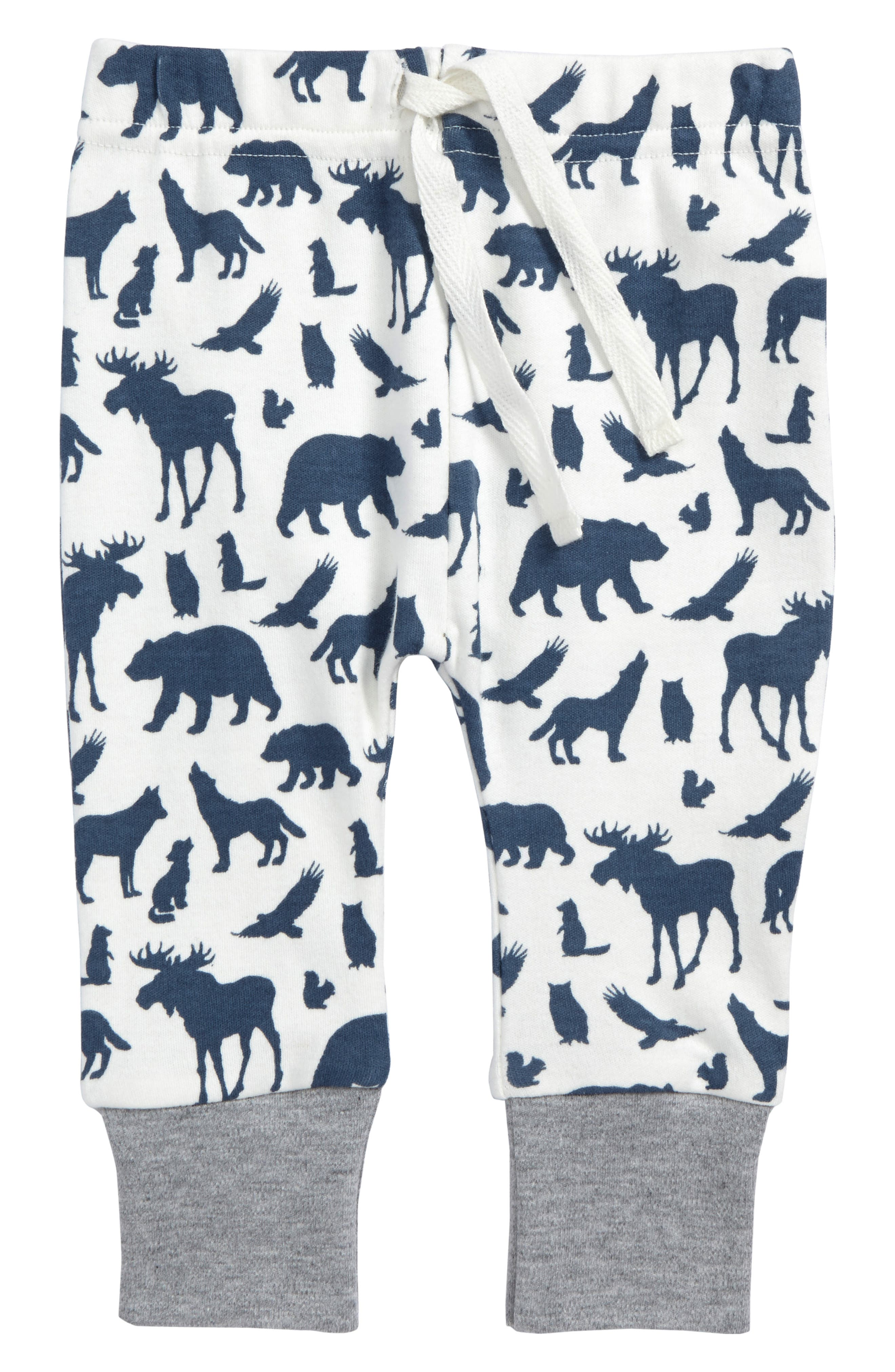 Animal Print Organic Cotton Jogger Pants,                             Main thumbnail 1, color,                             Off White/ Blue