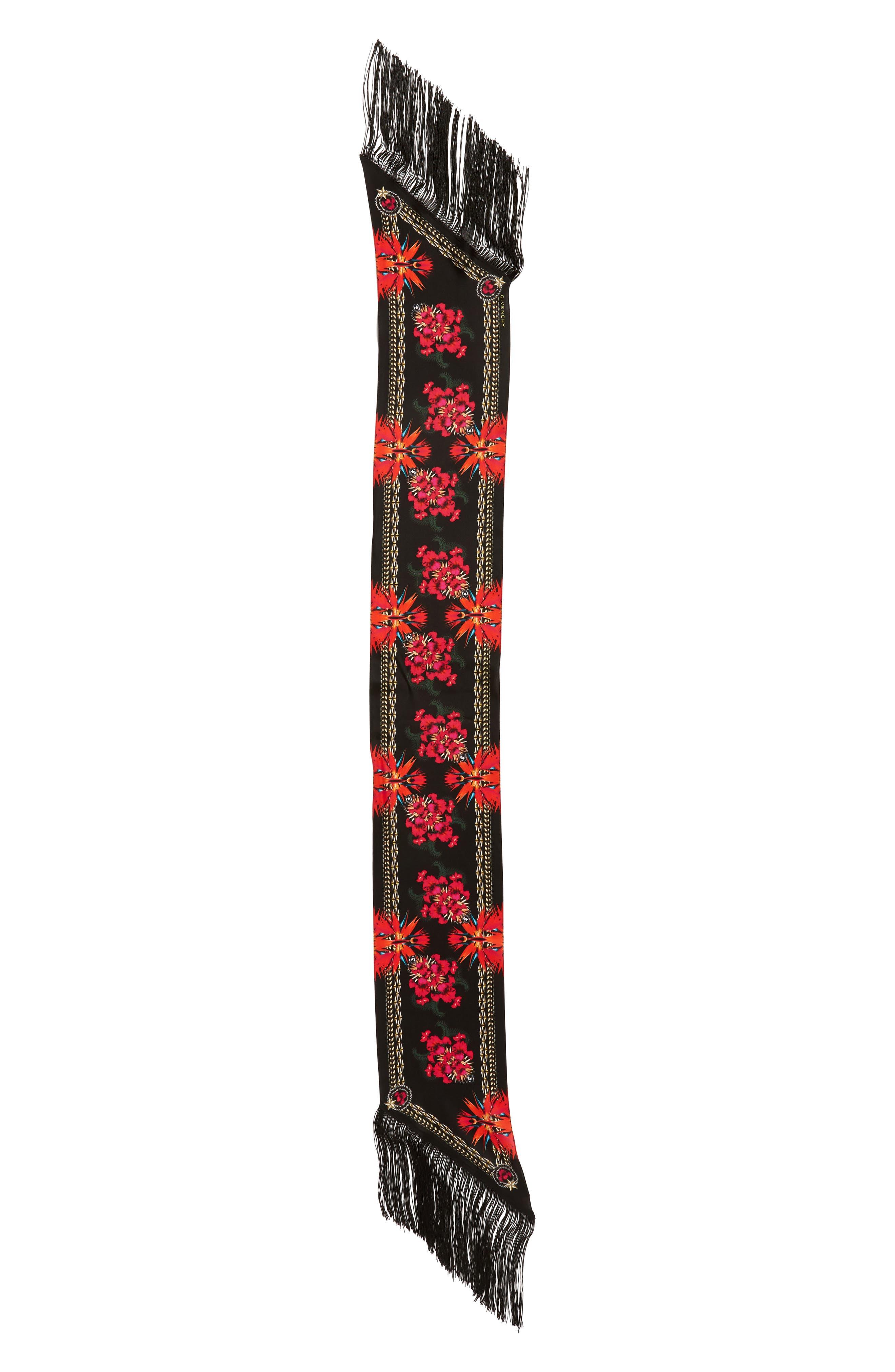 Givenchy Iris Fringe Silk Scarf