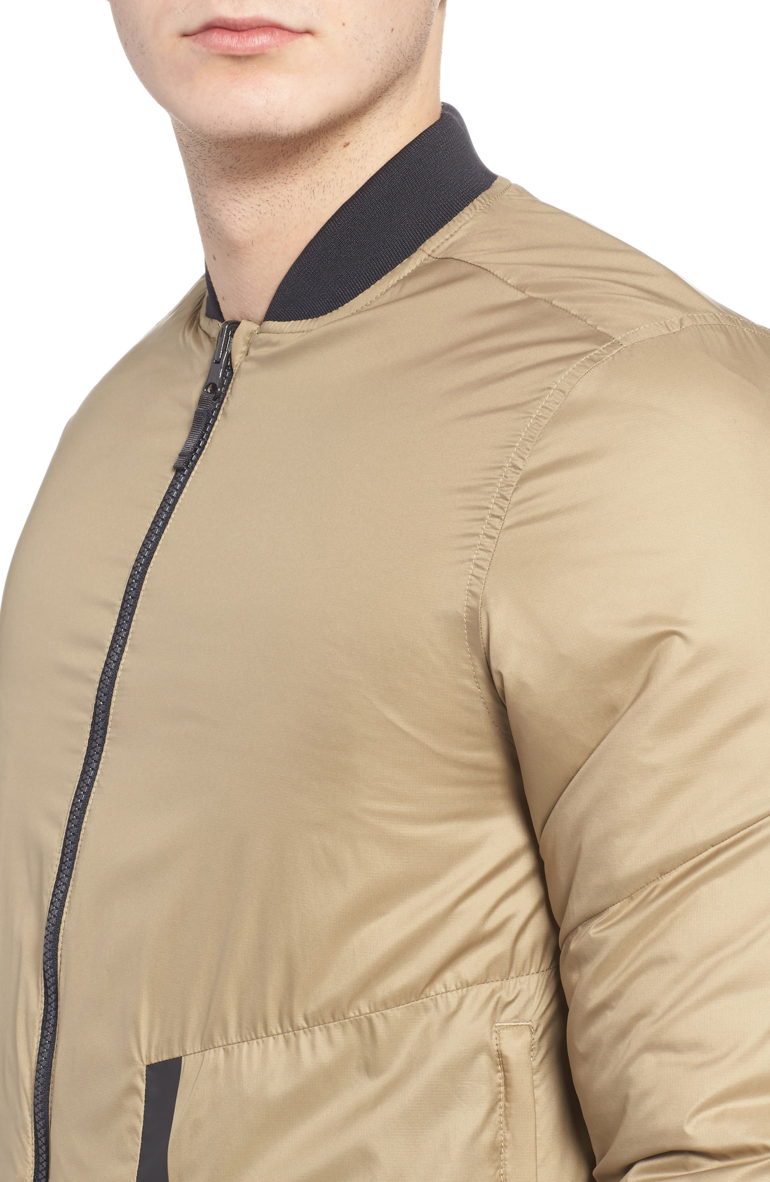Sportstyle Reactor Reversible Bomber Jacket,                             Alternate thumbnail 4, color,                             Canvas / Bay Brown / Black