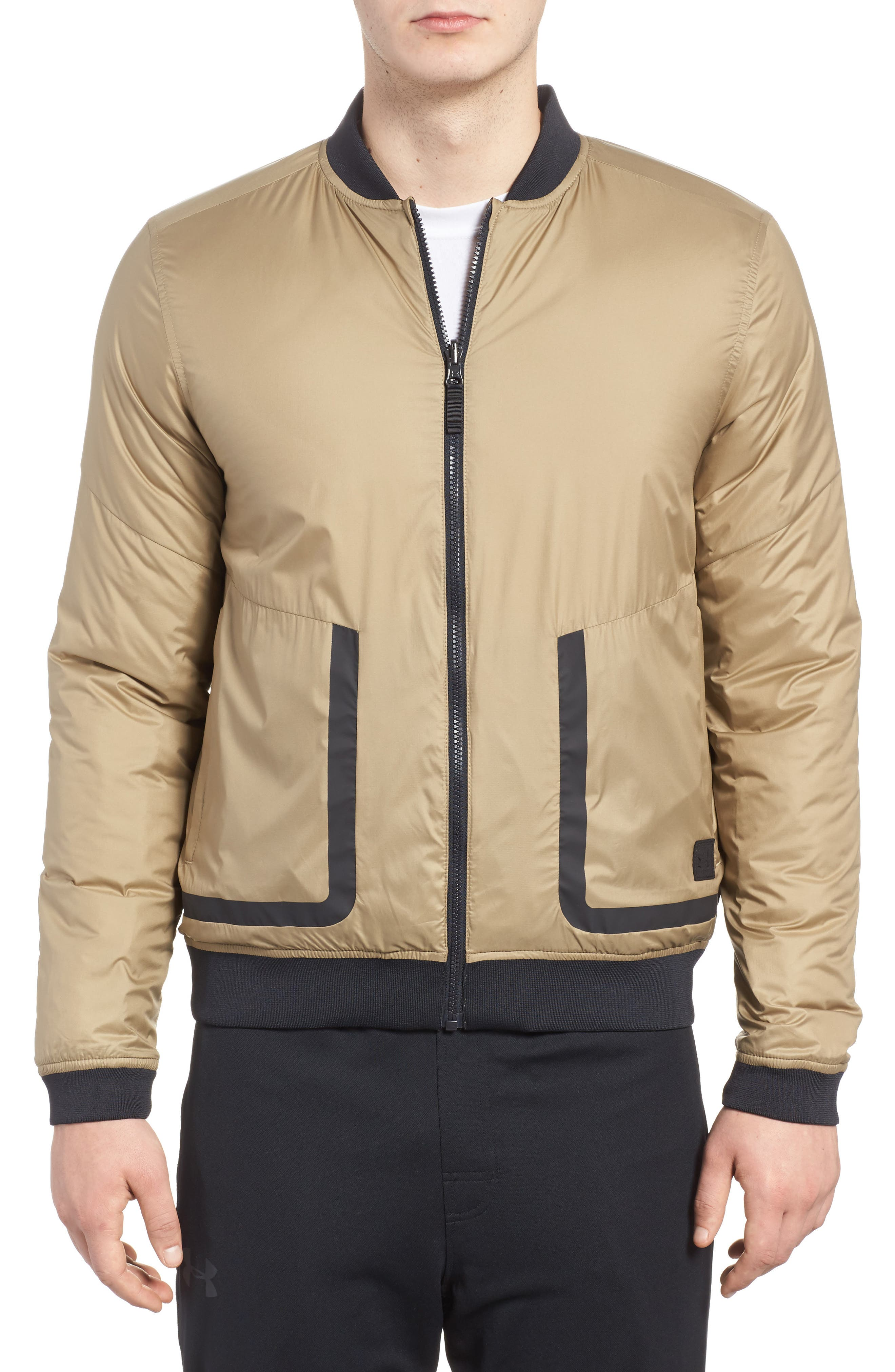 Sportstyle Reactor Reversible Bomber Jacket,                             Main thumbnail 1, color,                             Canvas / Bay Brown / Black
