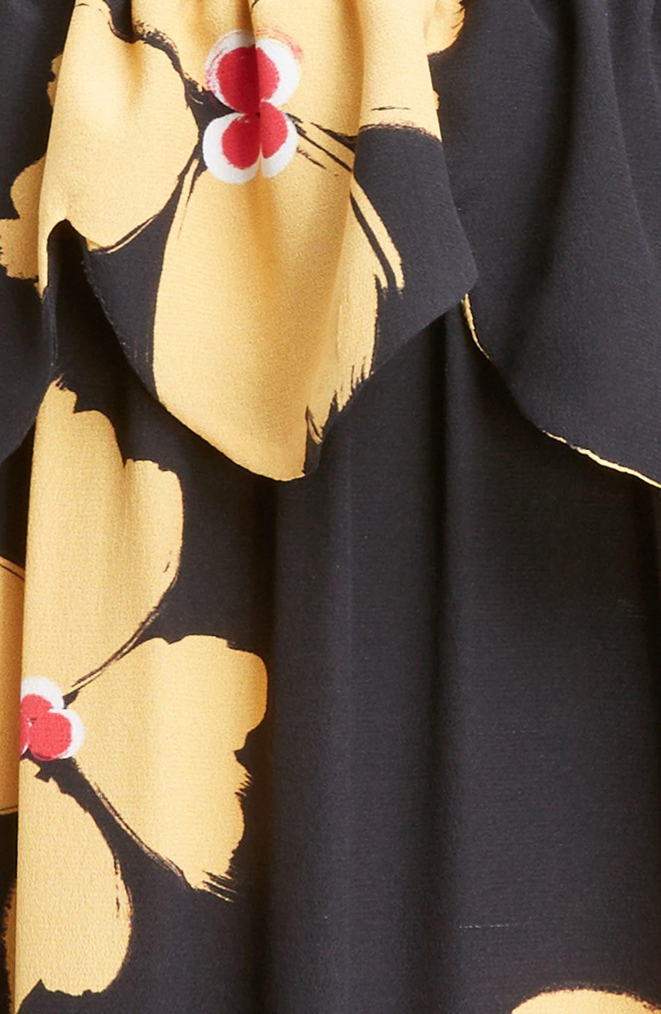 Scallop Trim Floral Silk Dress,                             Alternate thumbnail 5, color,                             Black Clementine