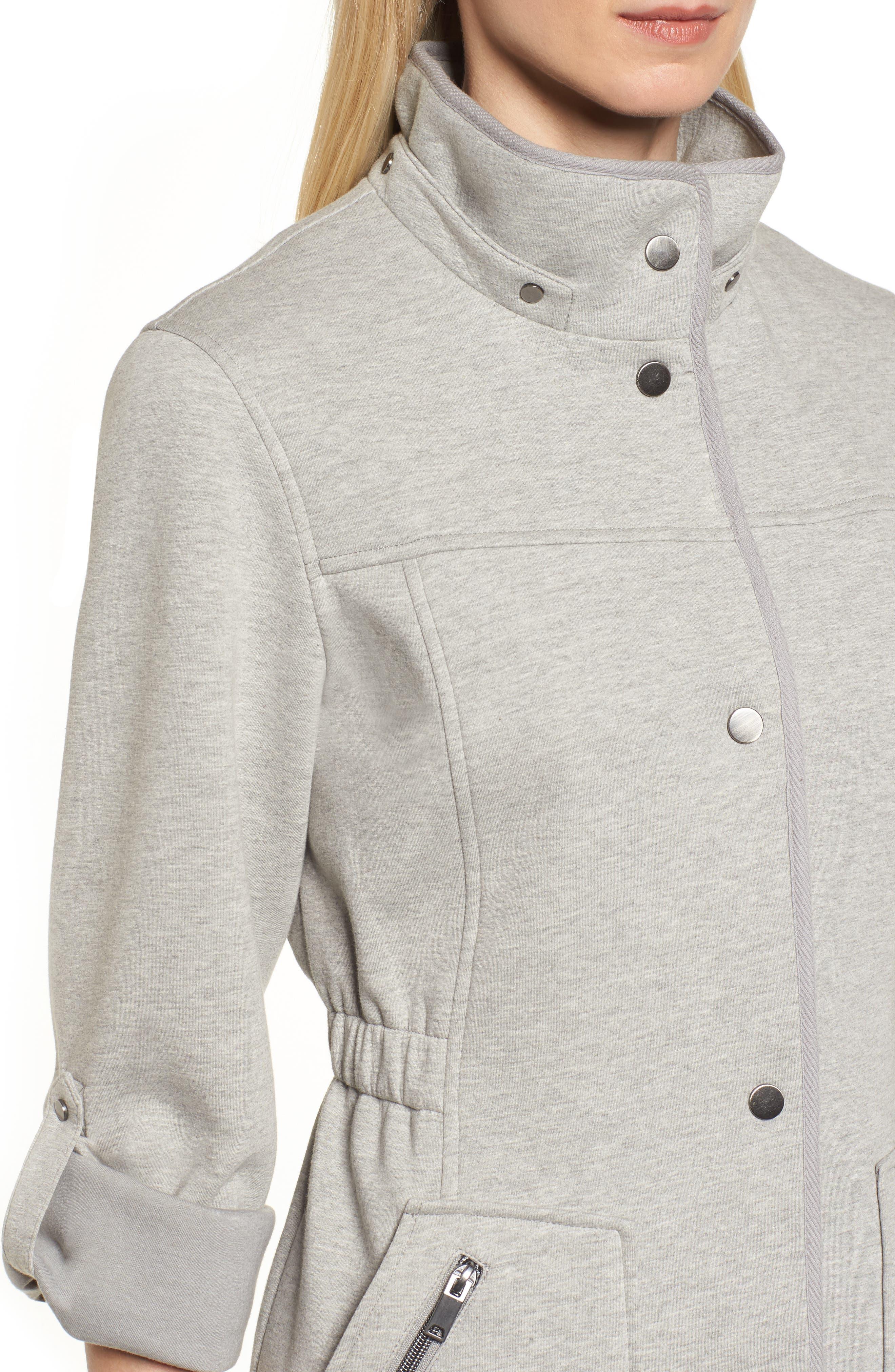 Hooded Knit Anorak,                             Alternate thumbnail 4, color,                             Light Grey