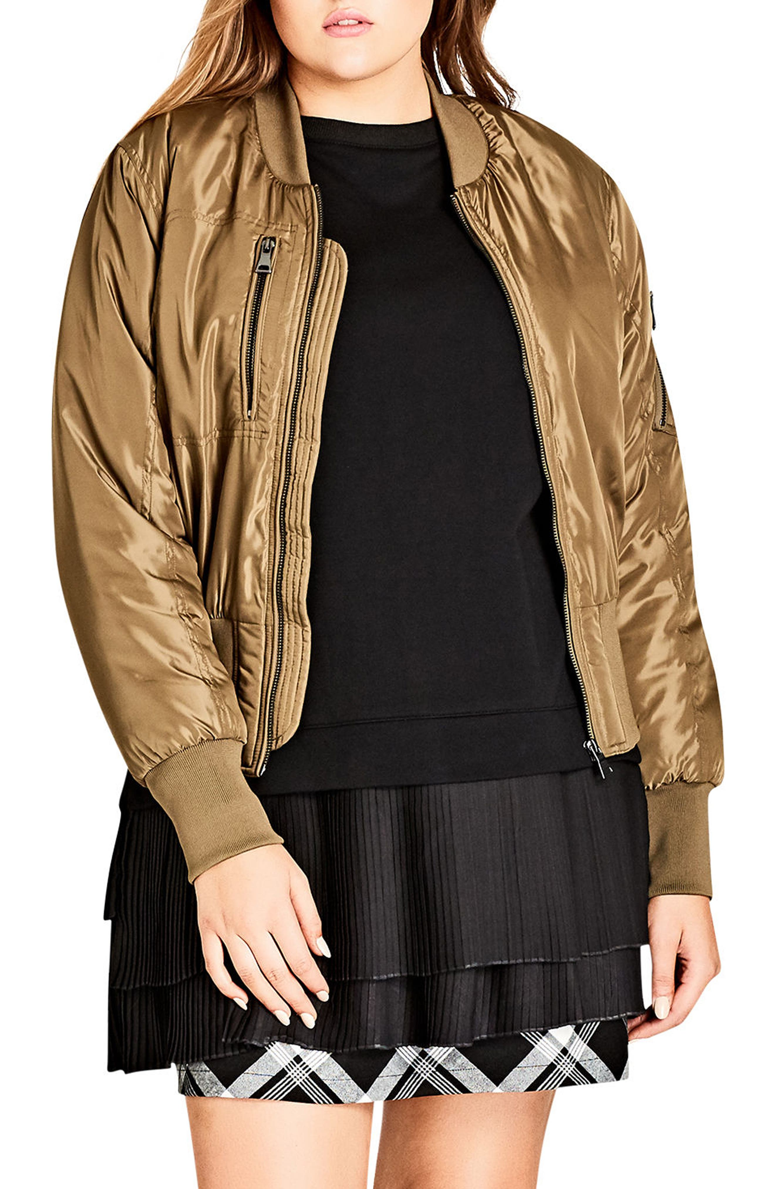 Metallic Bomber Jacket,                         Main,                         color, Khaki