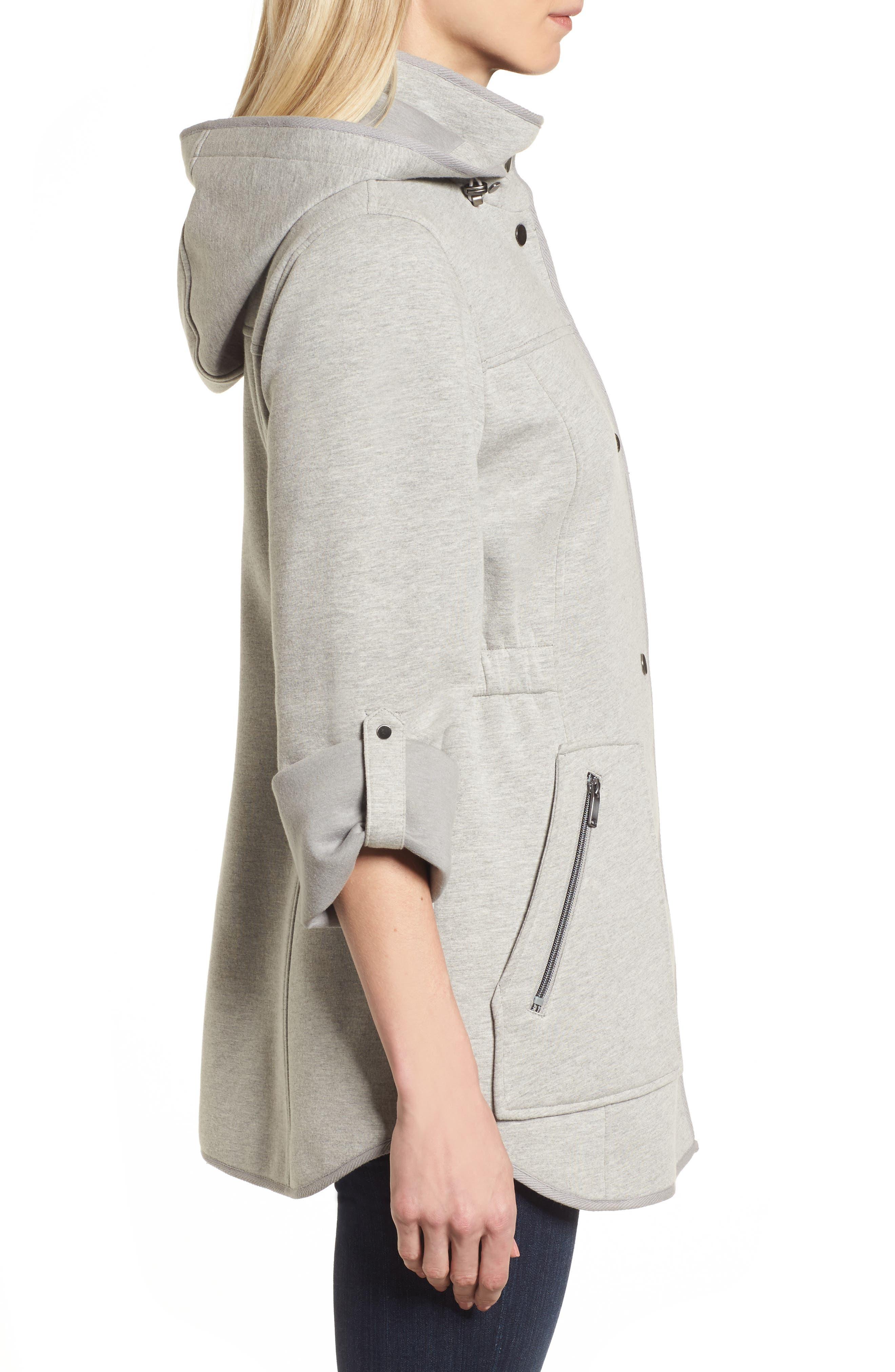 Hooded Knit Anorak,                             Alternate thumbnail 3, color,                             Light Grey