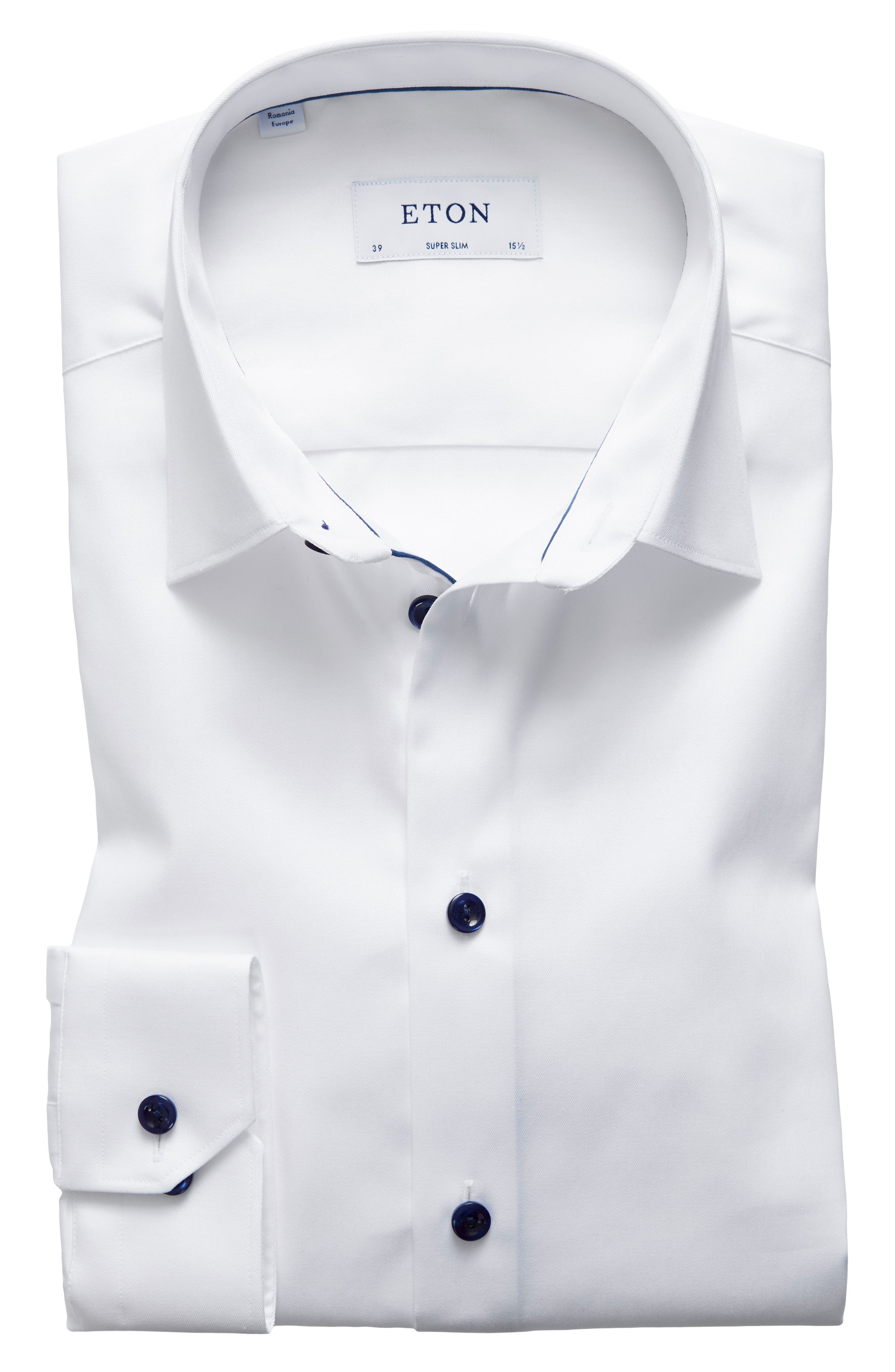 Super Slim Fit Twill Dress Shirt with Navy Details,                         Main,                         color, White/ Navy