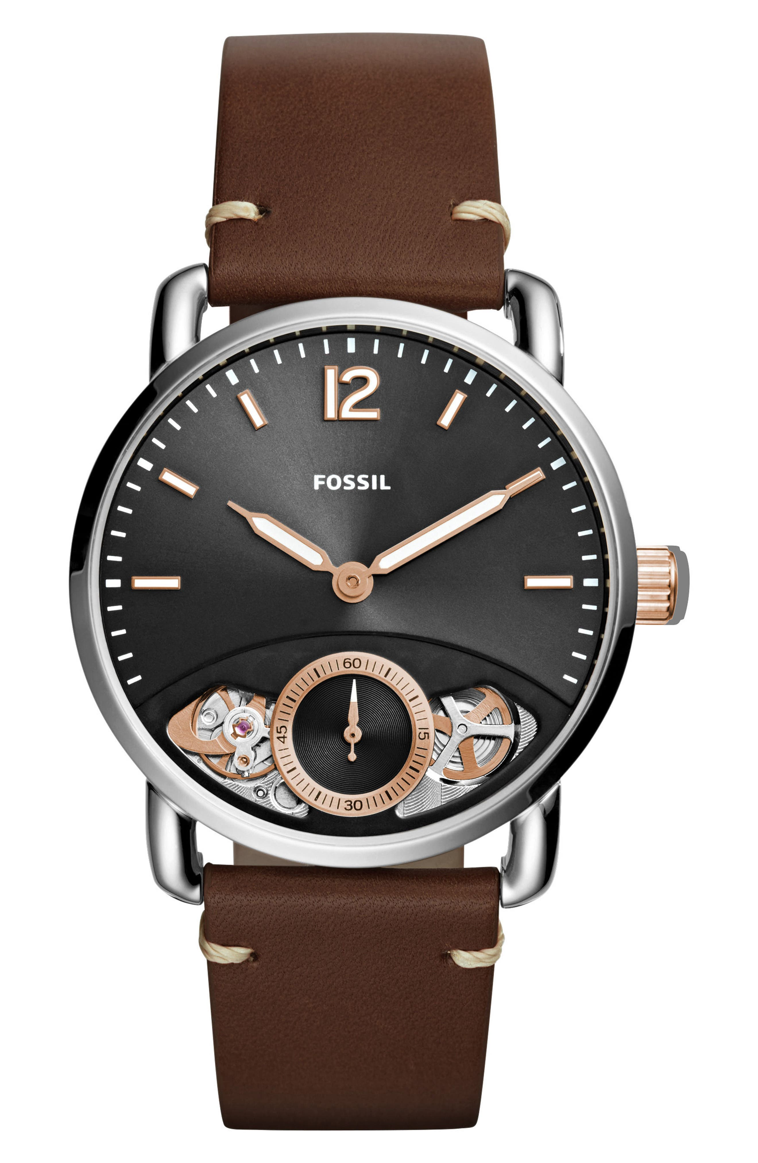Alternate Image 1 Selected - Fossil Commuter Twist Leather Strap Watch, 42mm