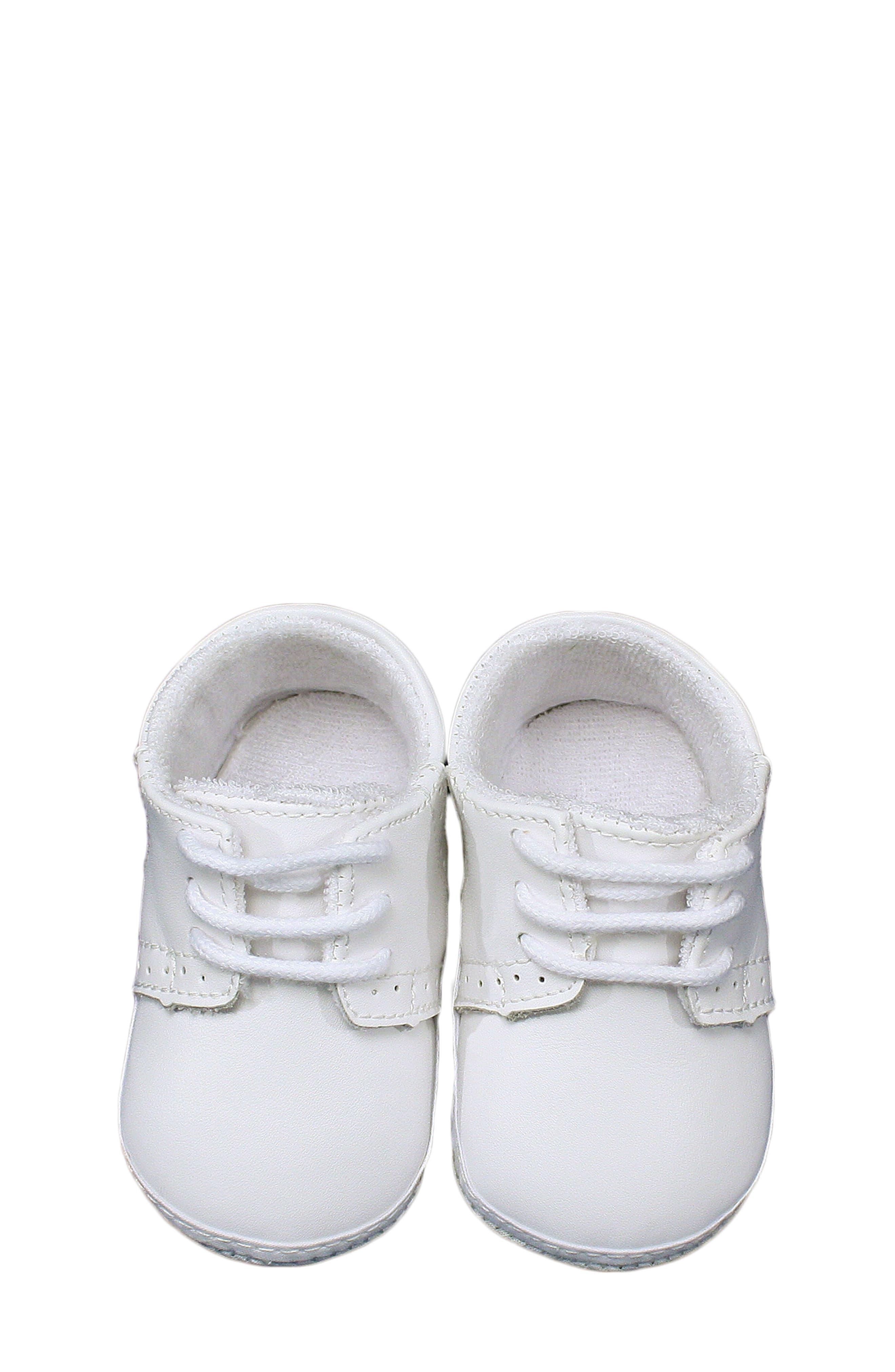 Leather Crib Shoe,                             Main thumbnail 1, color,                             White