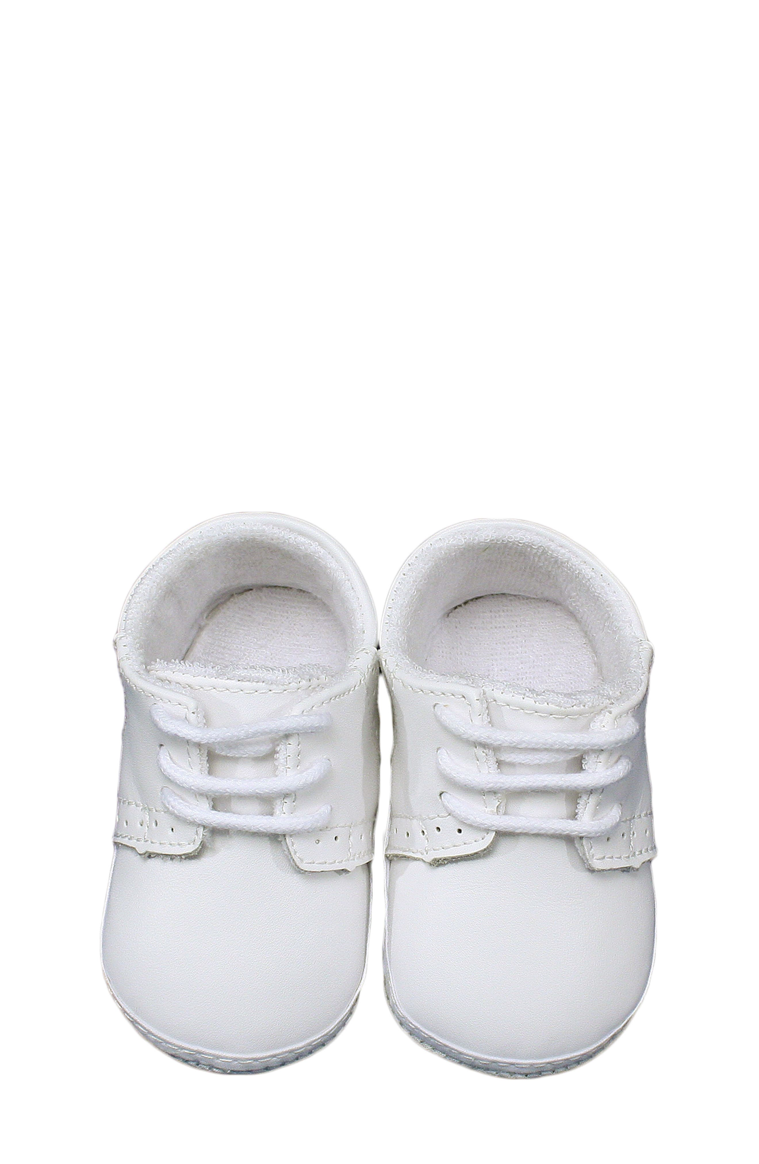 Leather Crib Shoe,                         Main,                         color, White