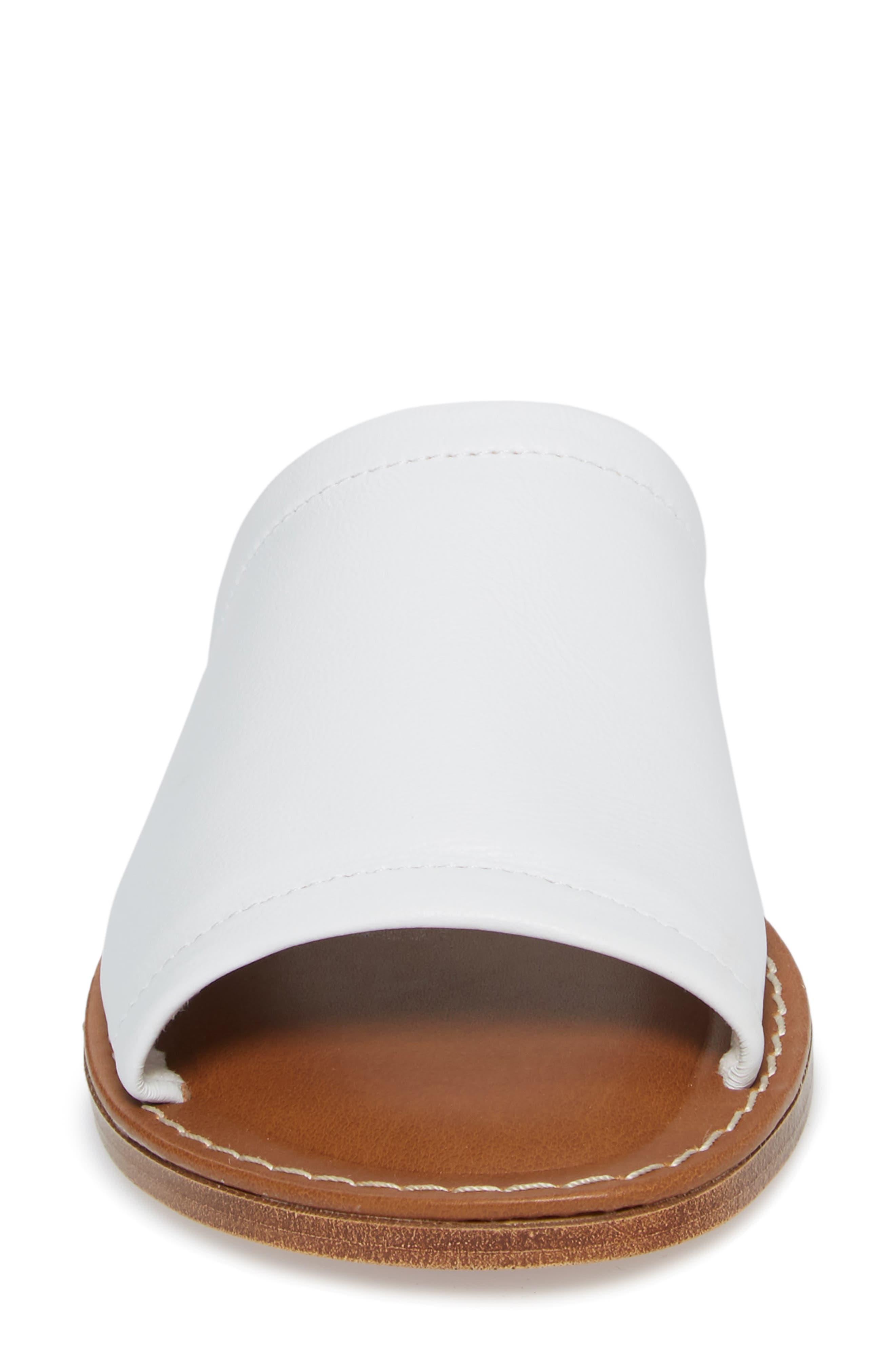 Ros Slide Sandal,                             Alternate thumbnail 4, color,                             White Leather