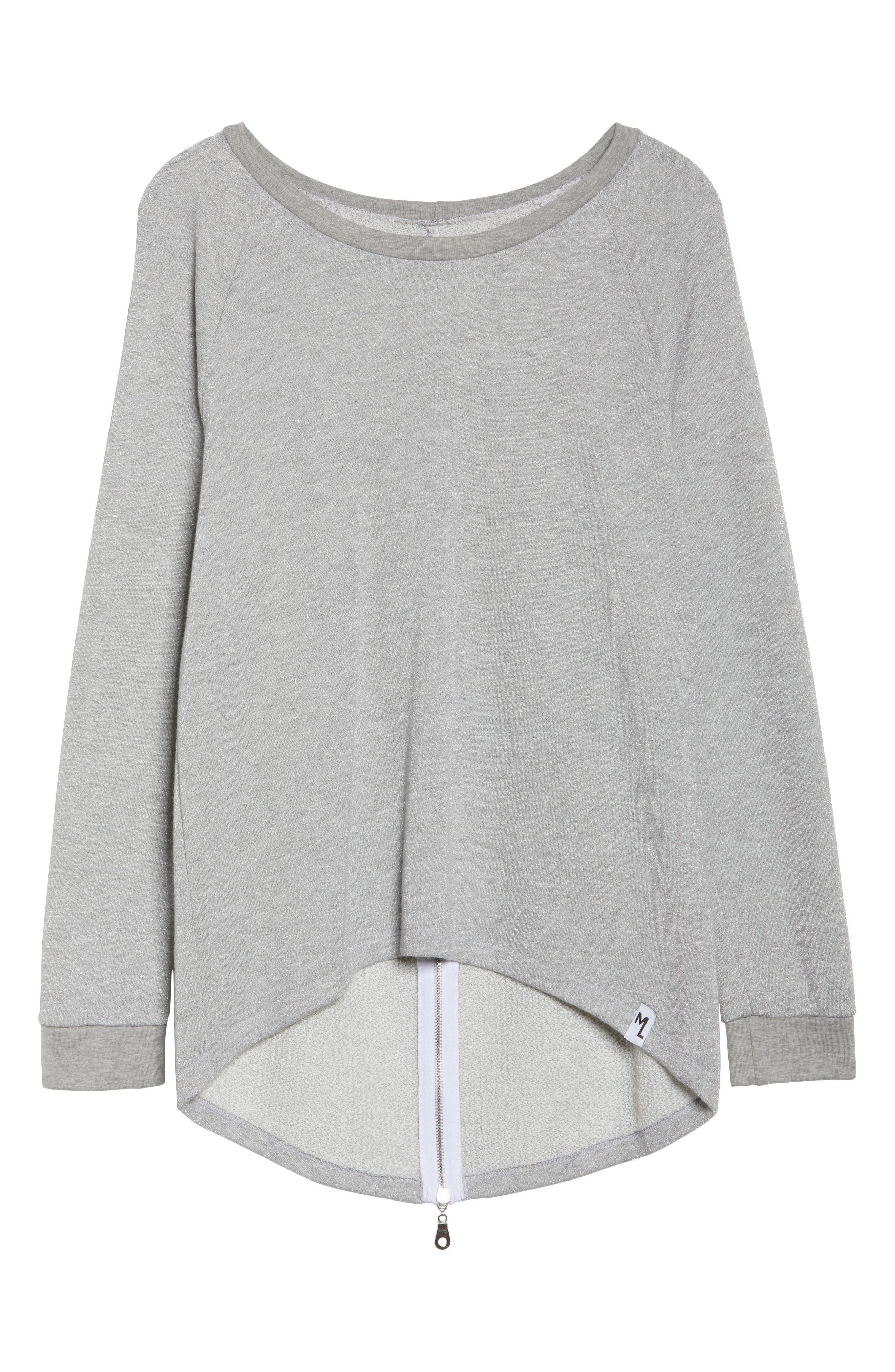 Louie Metallic High/Low Pullover,                             Alternate thumbnail 4, color,                             Heather Grey