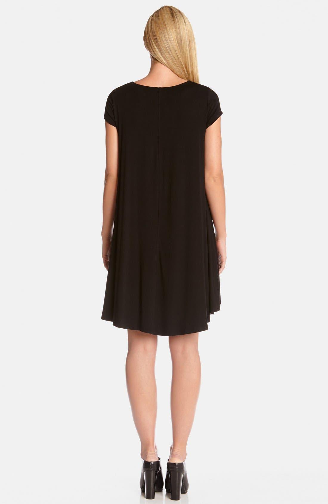 'Maggie' Cap Sleeve Trapeze Dress,                             Alternate thumbnail 2, color,                             Black
