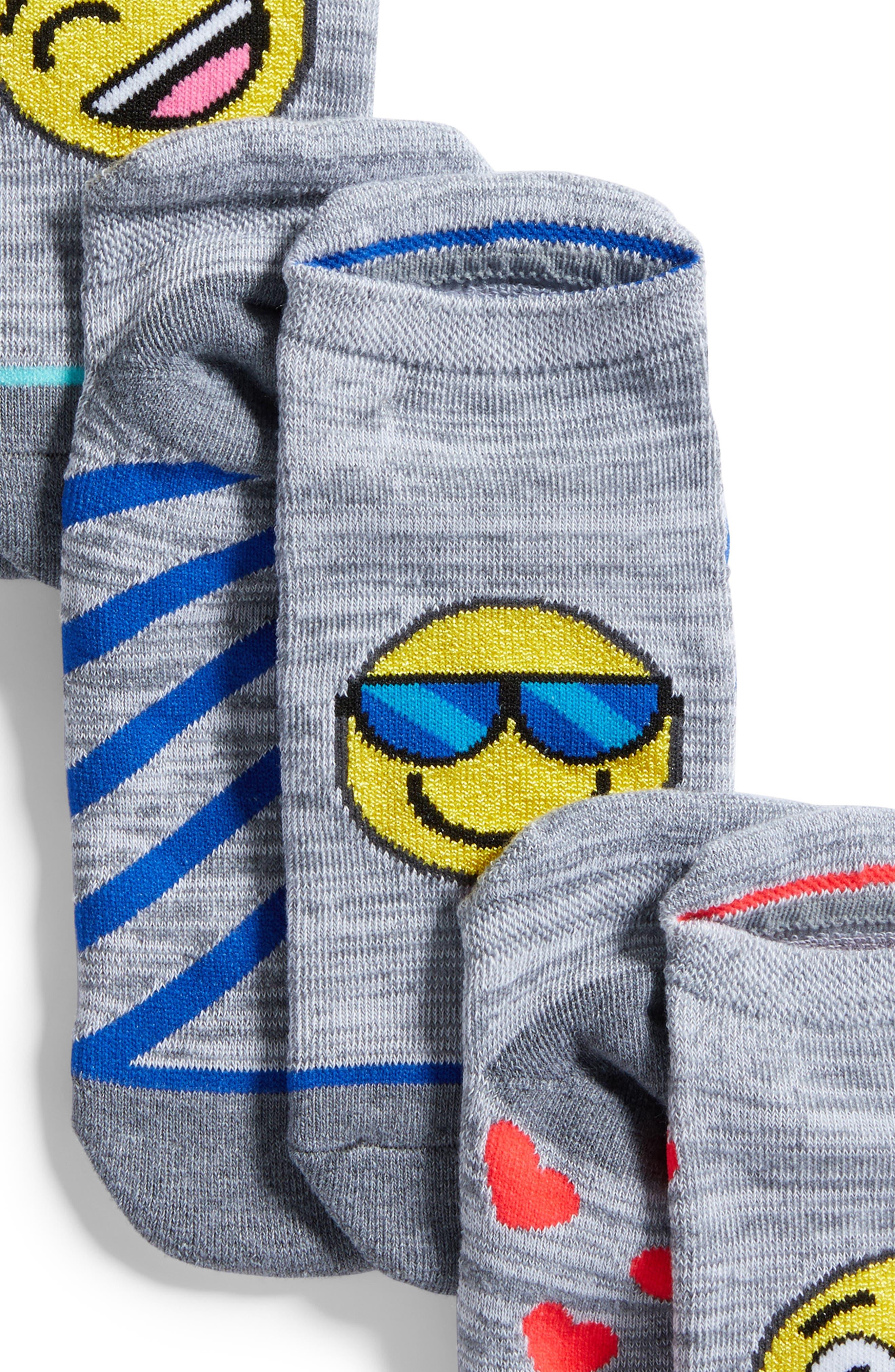 3-Pack Emoji No-Show Socks,                             Alternate thumbnail 2, color,                             Grey