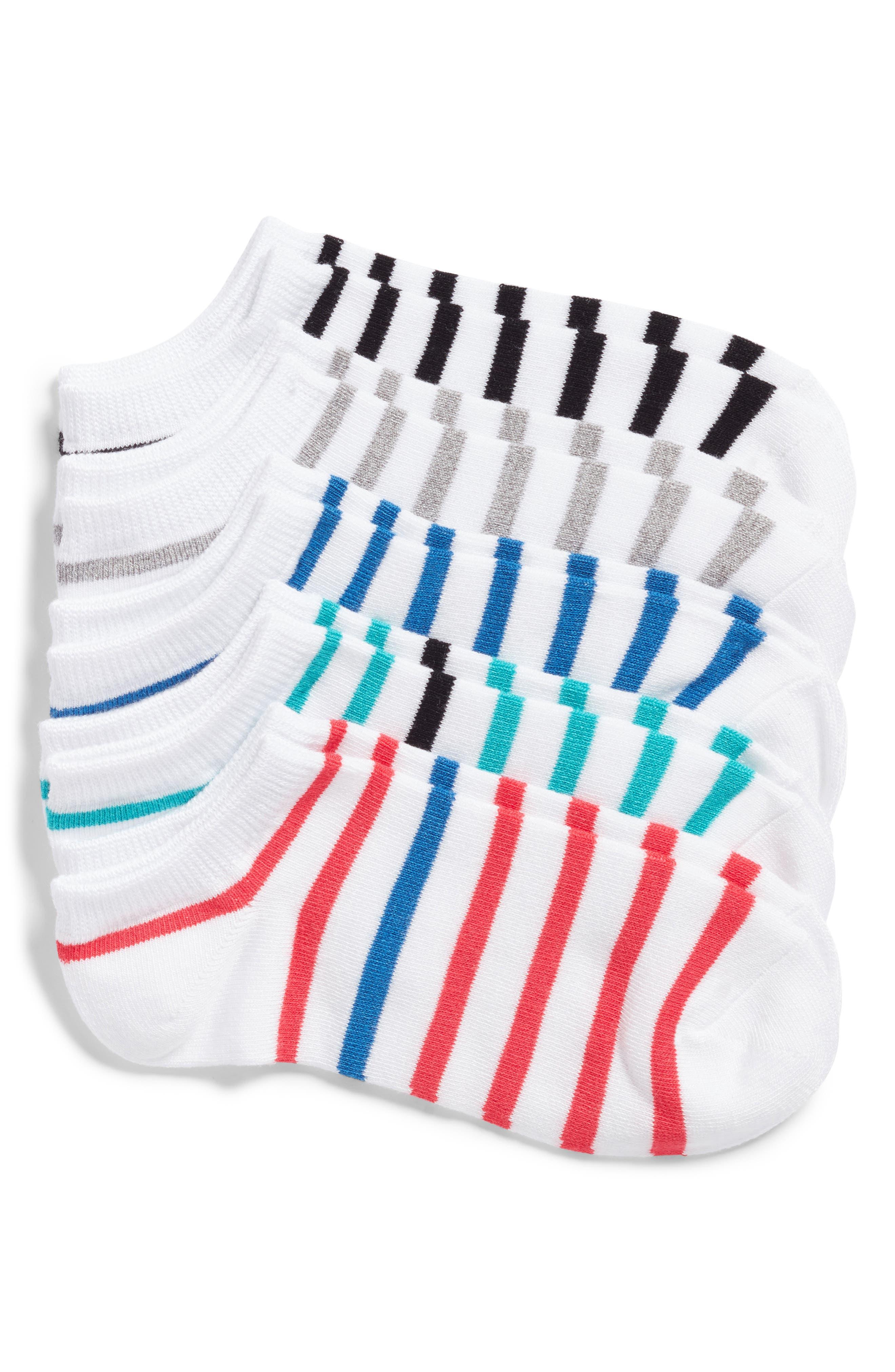 5-Pack Breton Stripe Socks,                         Main,                         color, White