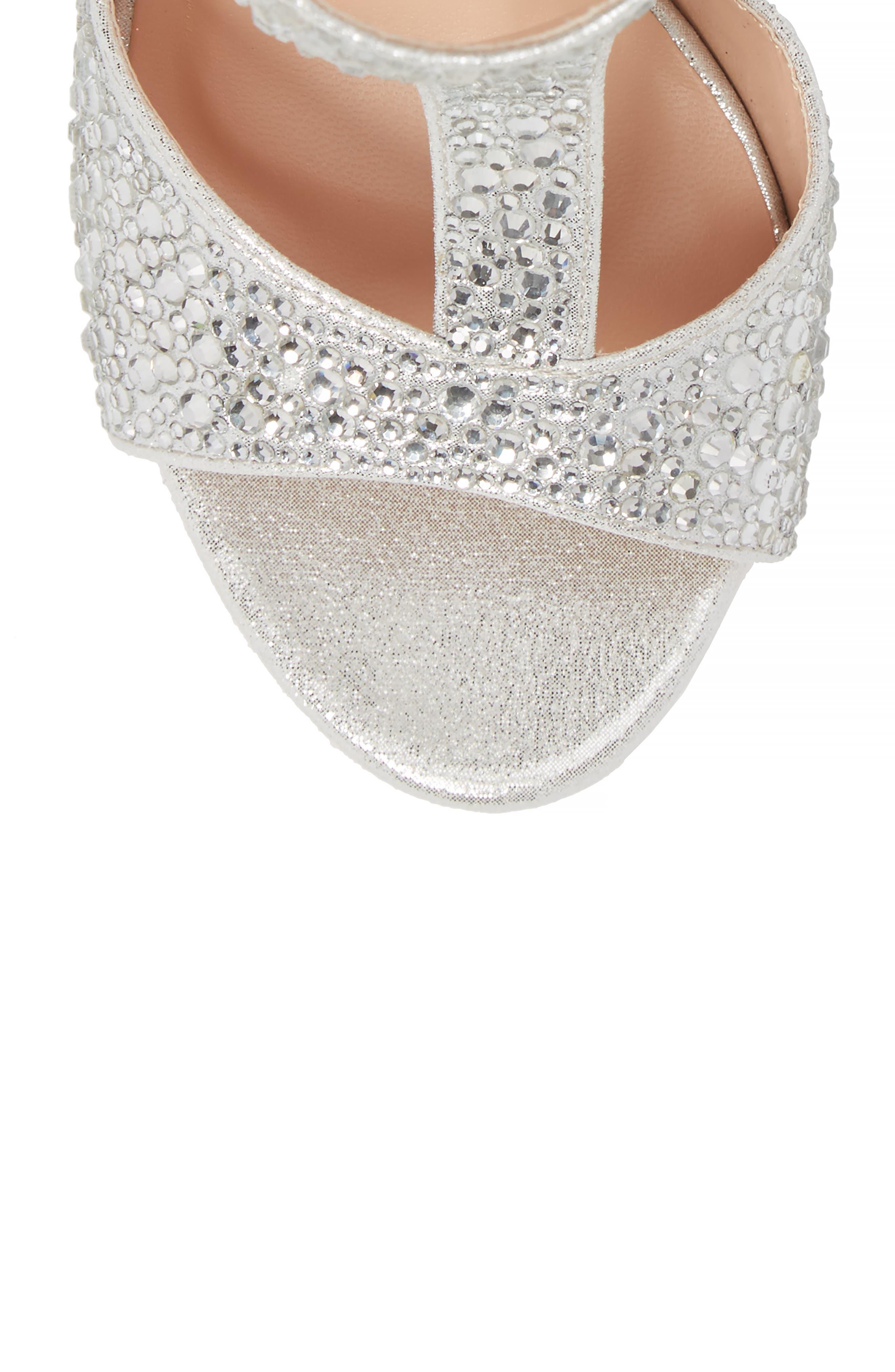 Ina Crystal Embellished Sandal,                             Alternate thumbnail 5, color,                             Silver