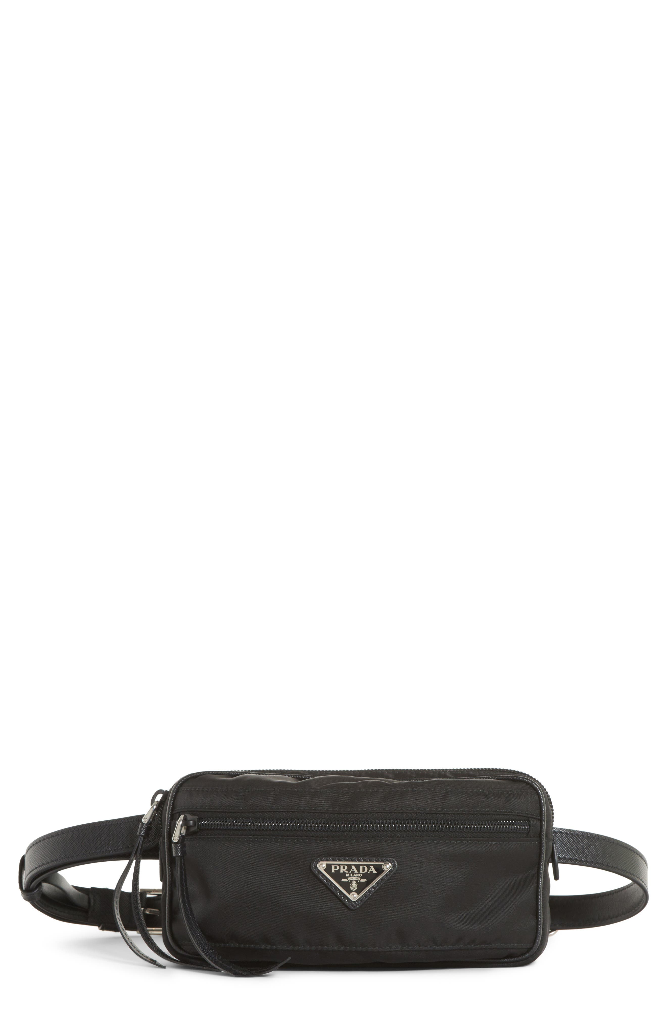 Small Nylon Belt Bag,                         Main,                         color, Nero