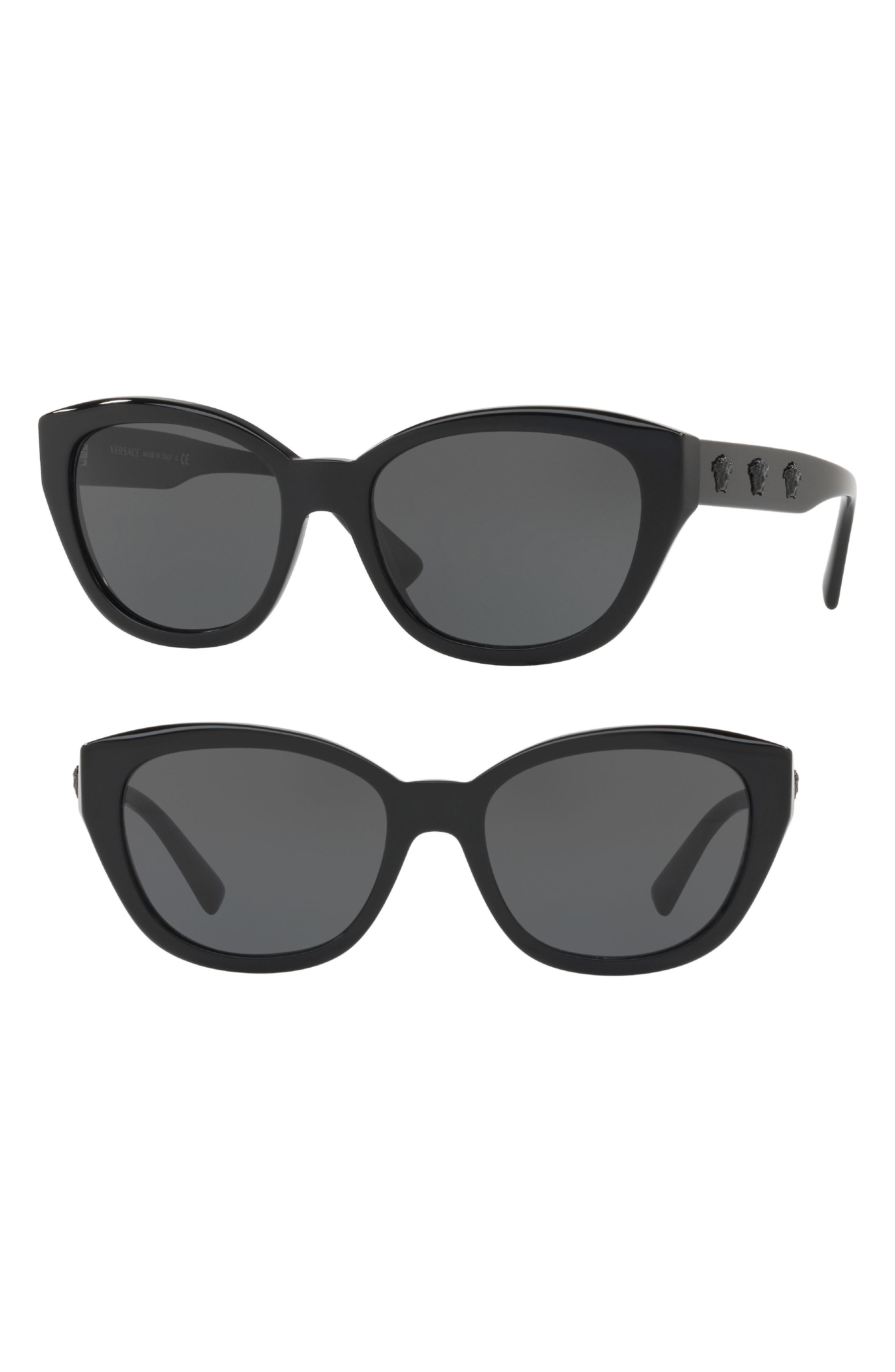 Versace Sunglasses 56MM CAT EYE SUNGLASSES - BLACK/ GREY