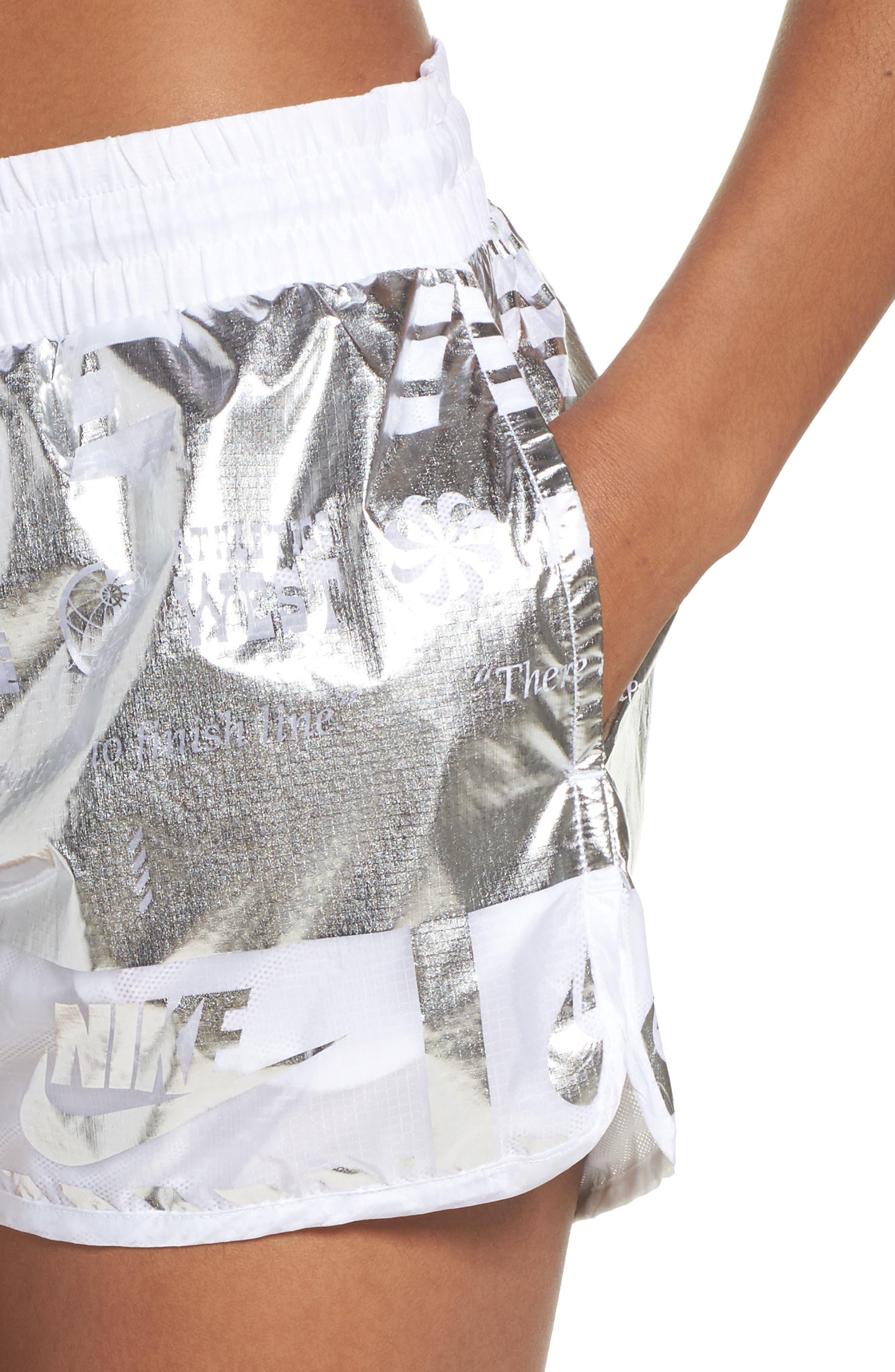 Sportswear Women's Metallic Shorts,                             Alternate thumbnail 4, color,                             White/ White