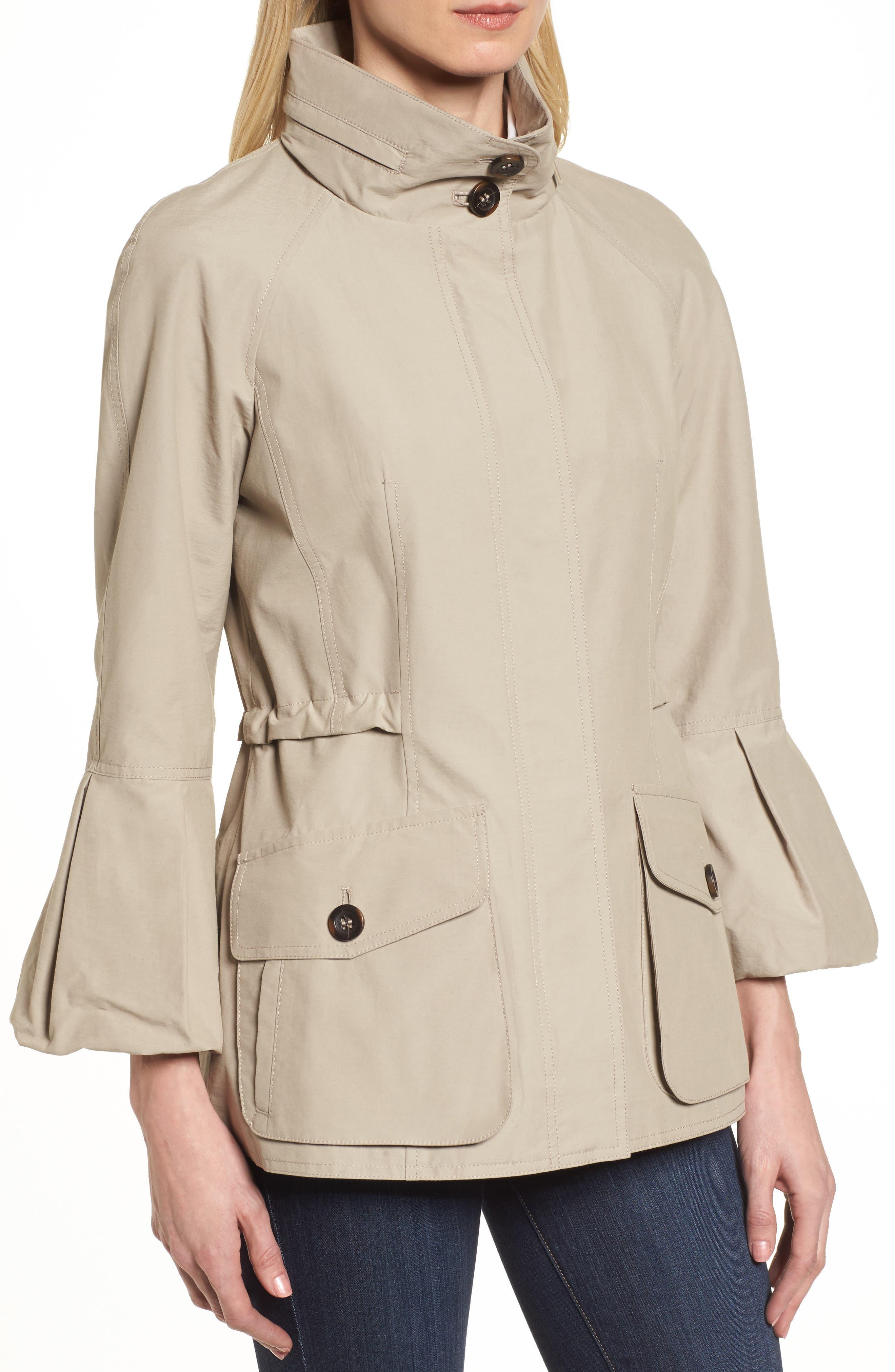 Alternate Image 4  - Gallery Bell Sleeve Jacket with Stowaway Hood