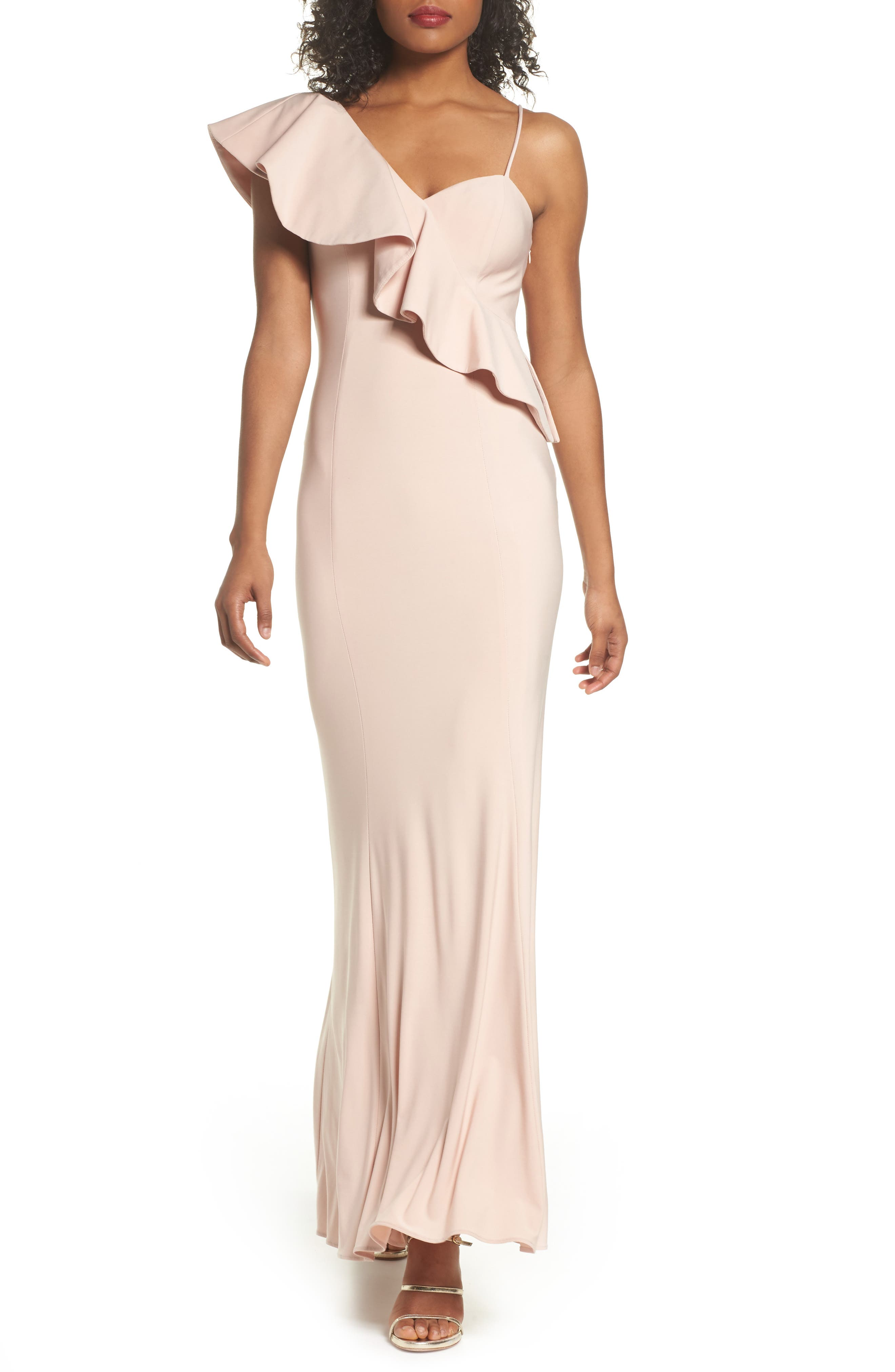 Ruffle Knit One-Shoulder Gown,                             Main thumbnail 1, color,                             Blush