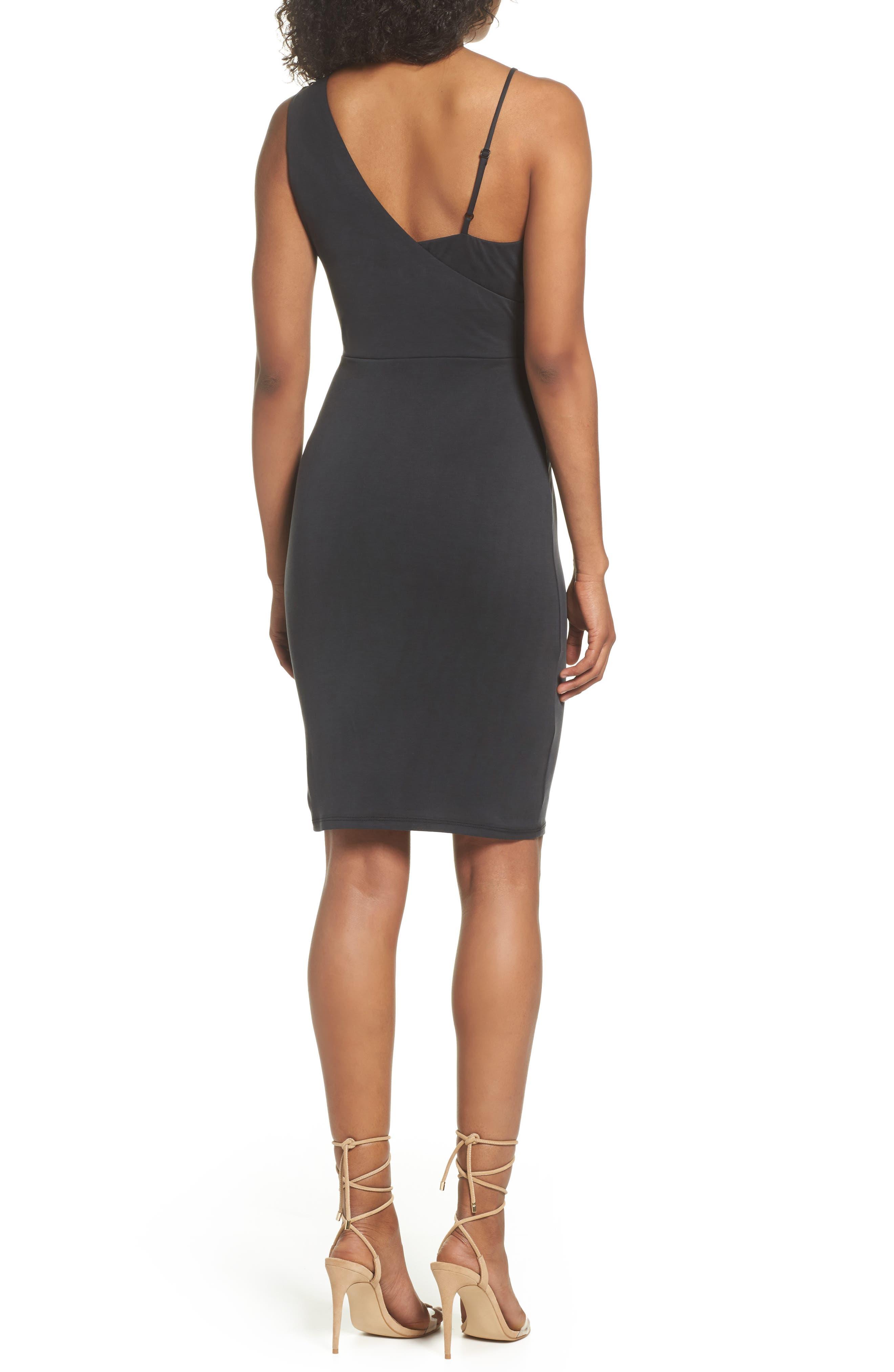 Gracie Cupro Body-Con Dress,                             Alternate thumbnail 2, color,                             Black