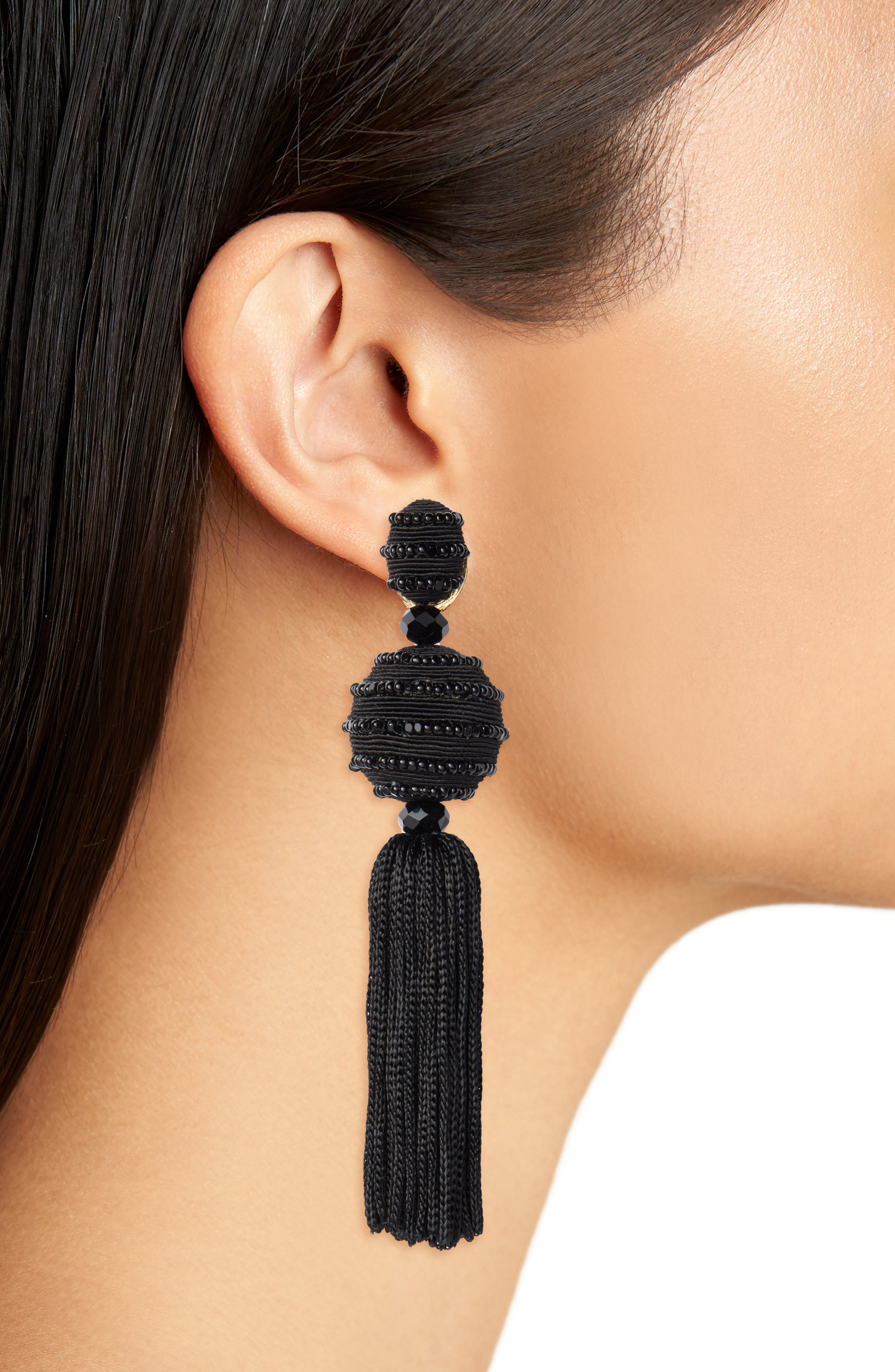 Beaded Drop Earrings,                             Alternate thumbnail 2, color,                             Black