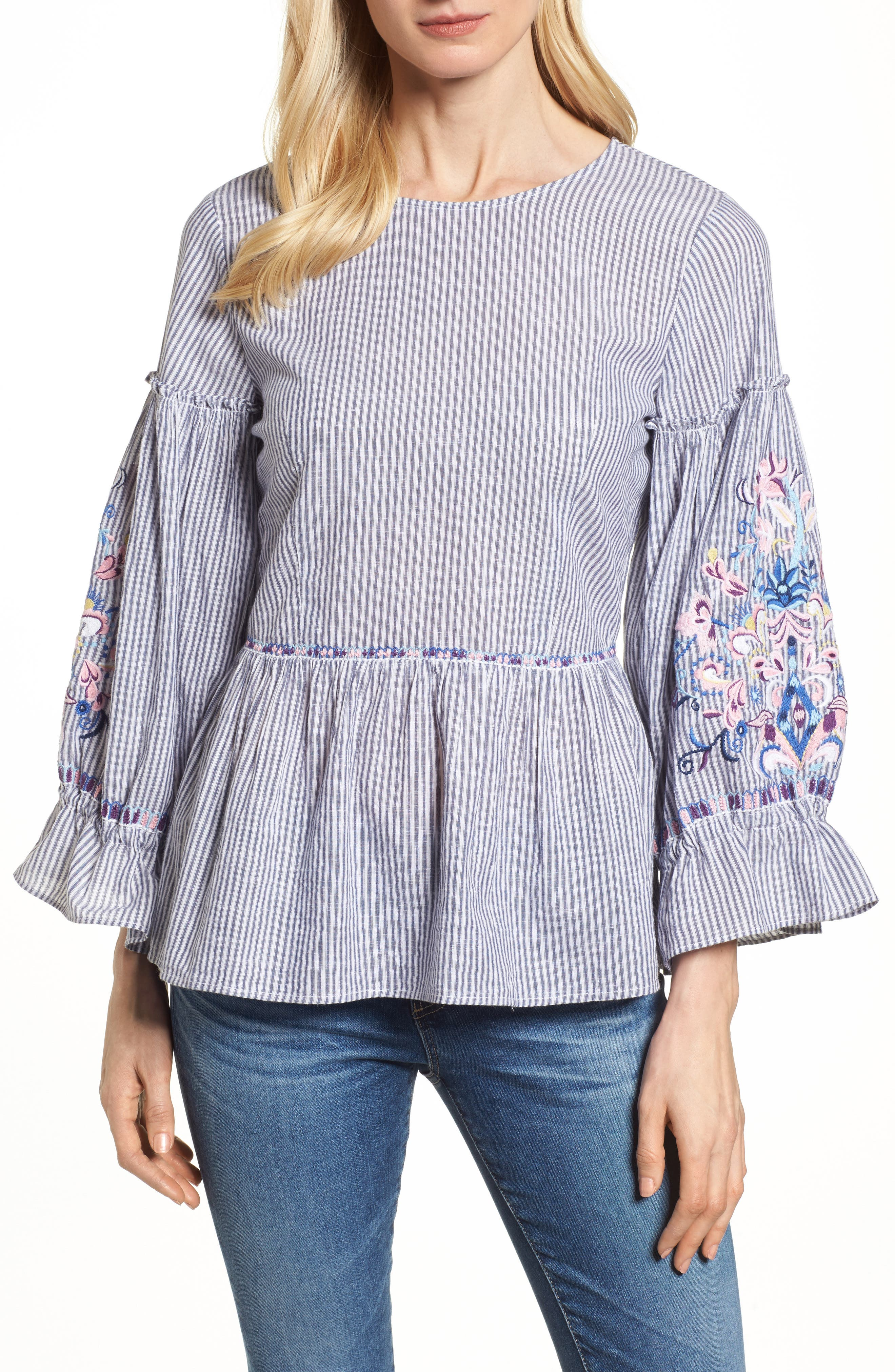 Embroidered Sleeve Top,                         Main,                         color, Blue-White