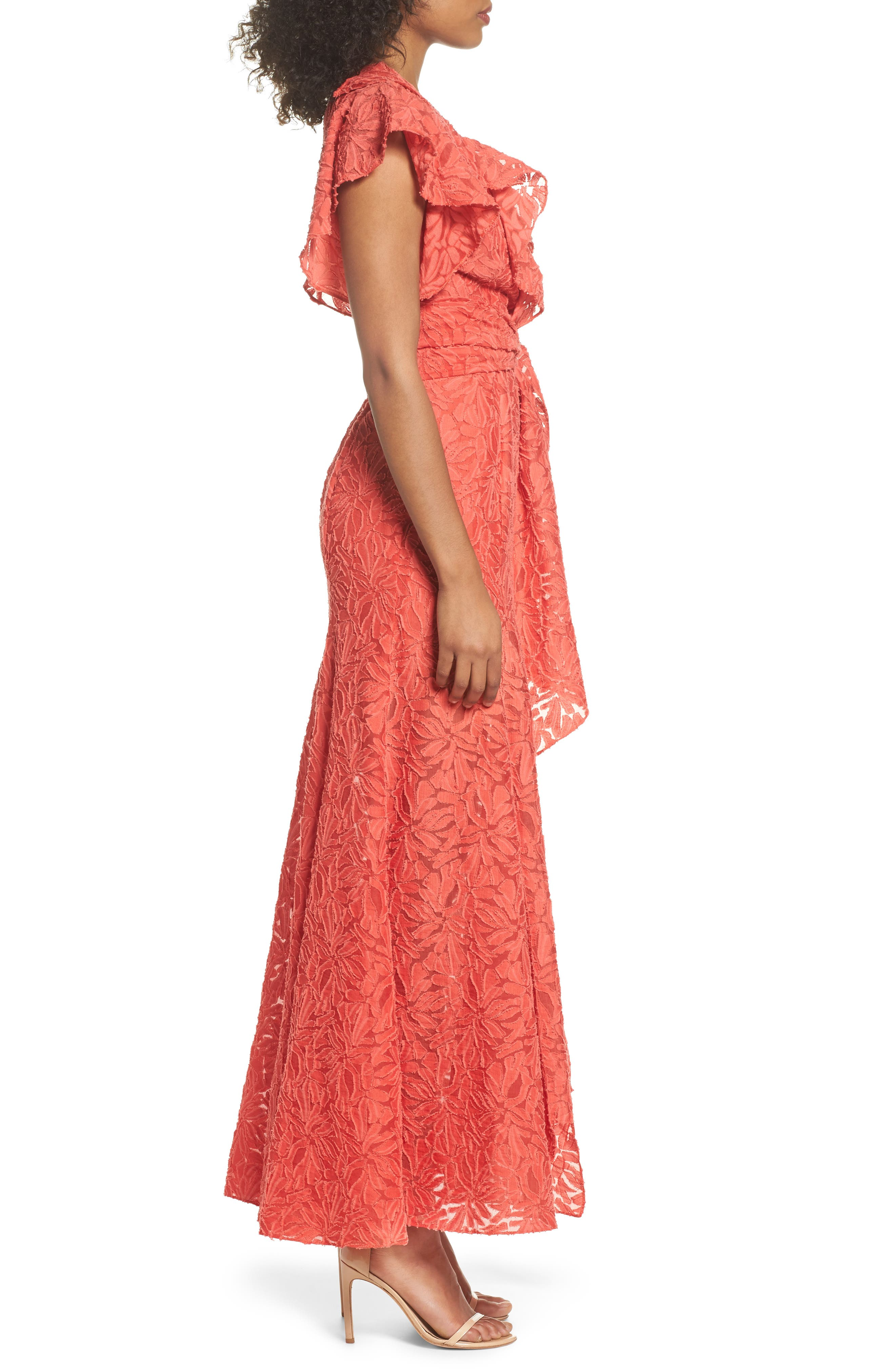 More To Give Ruffle Lace Gown,                             Alternate thumbnail 4, color,                             Melon