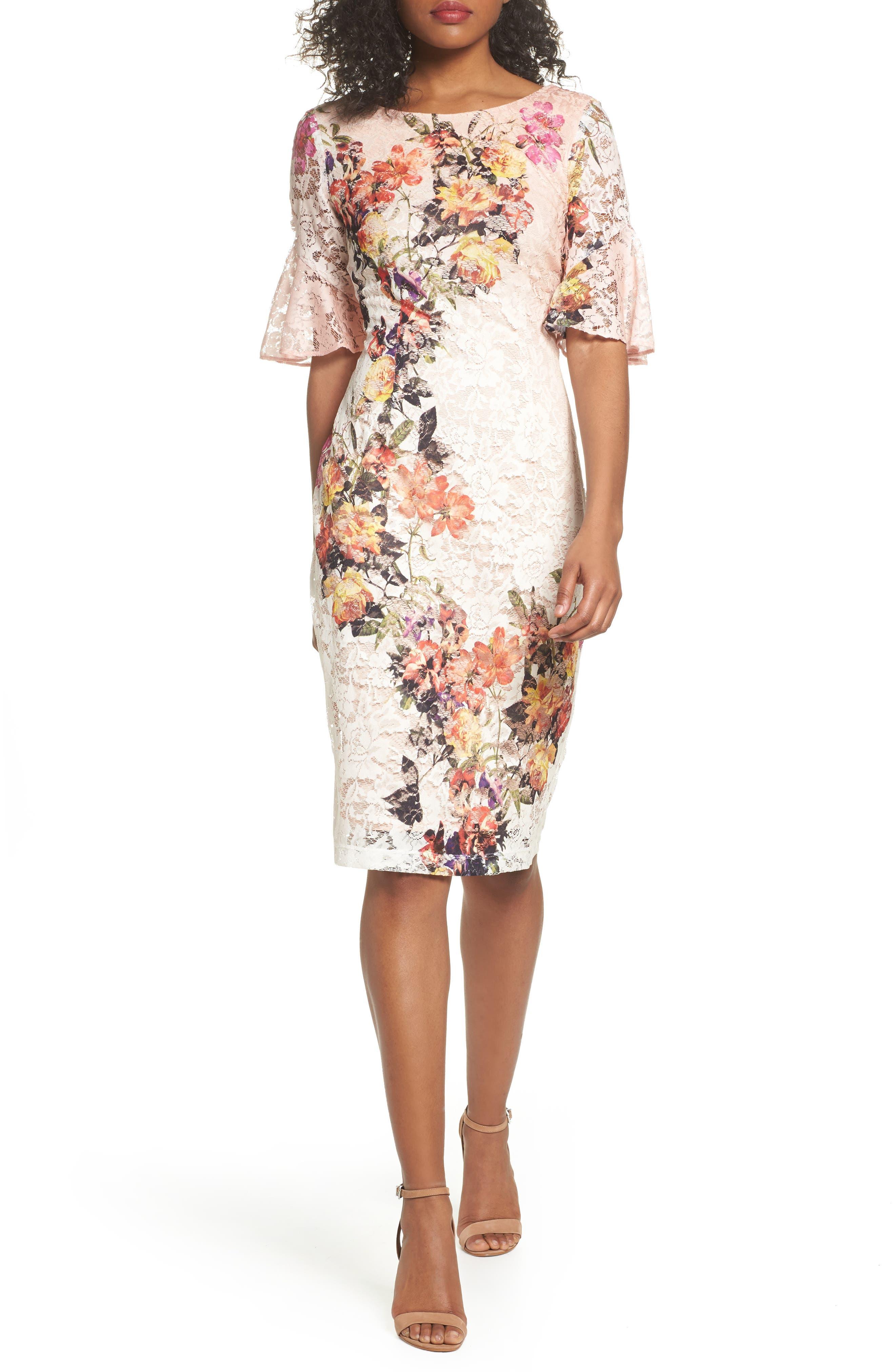 Gabby Skye Print Lace Sheath Dress