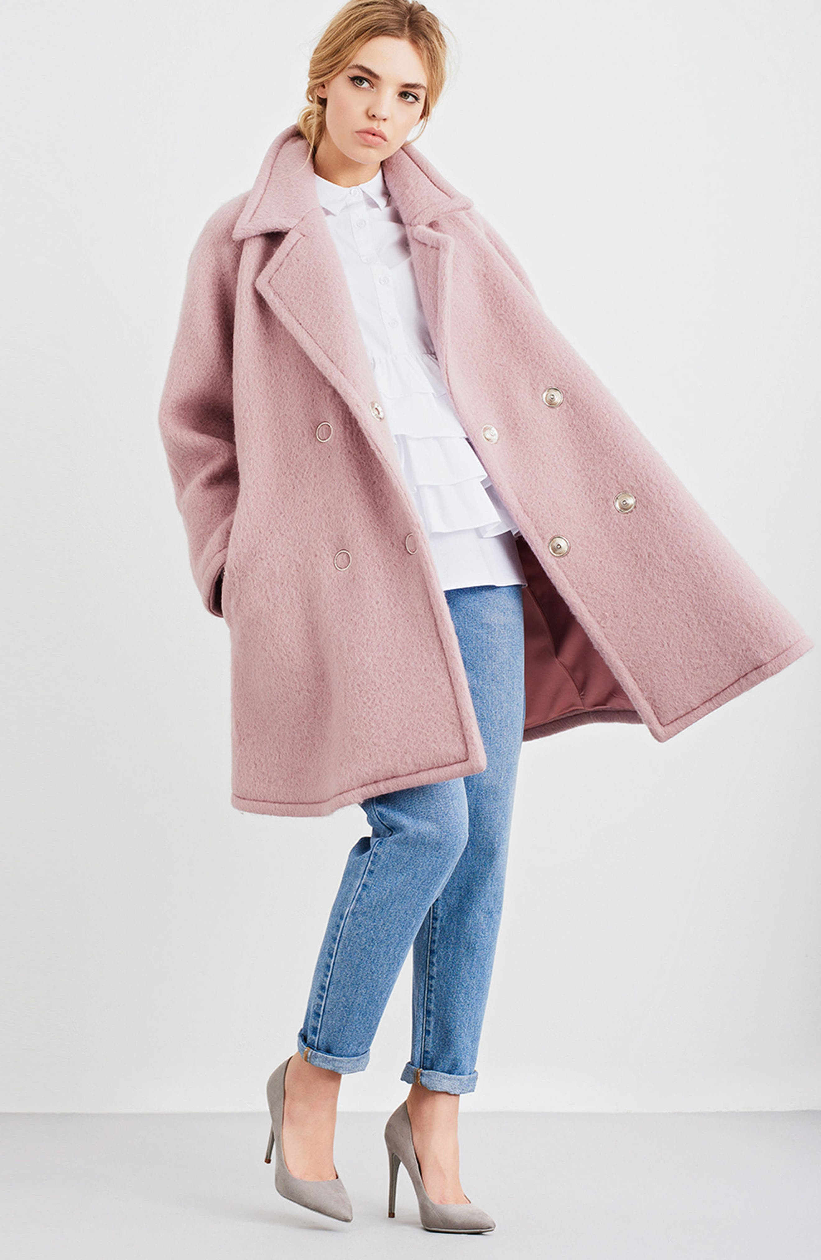 Swing Coat,                             Alternate thumbnail 7, color,                             Light Pink