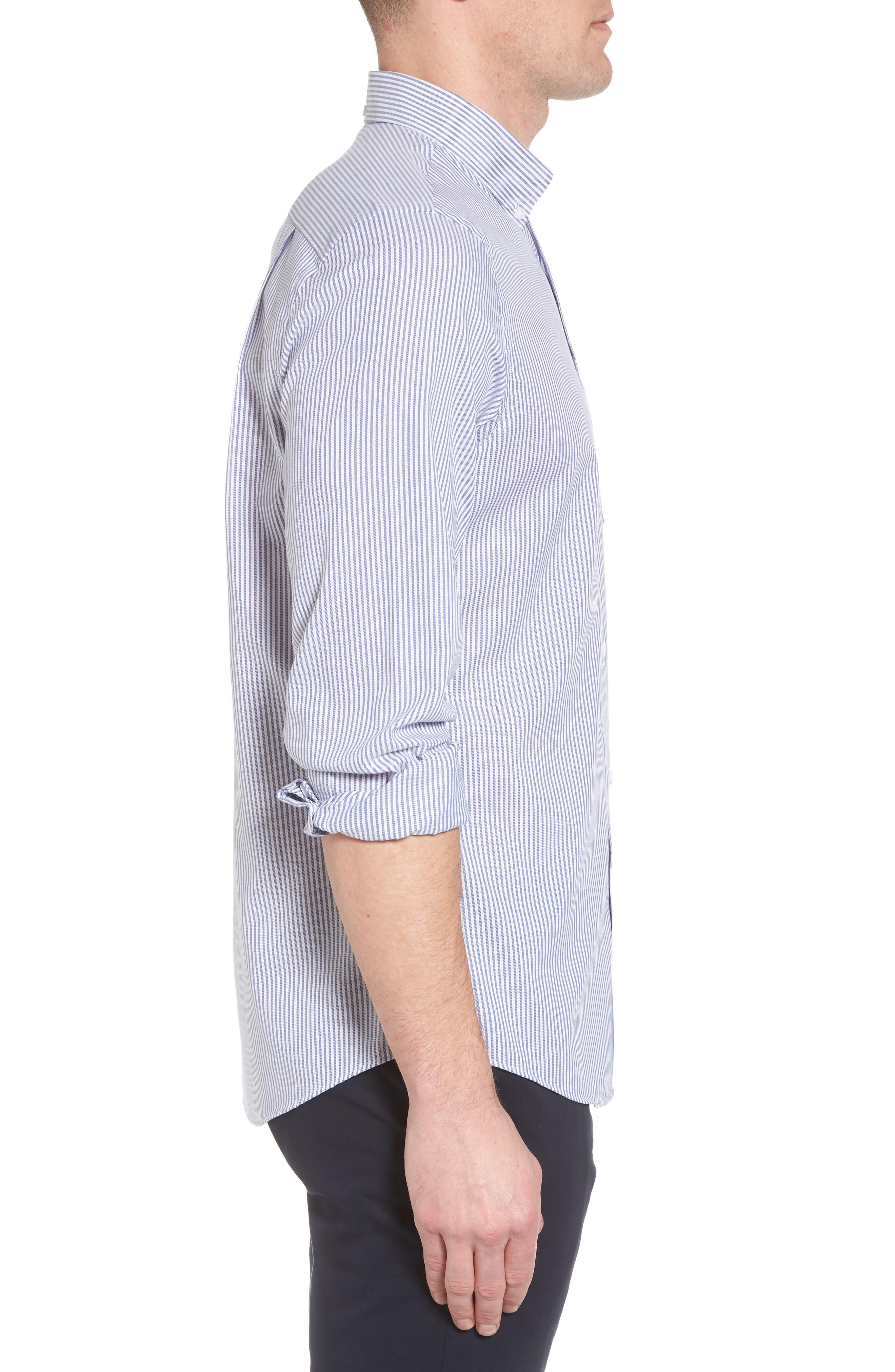 Tech-Smart Regular Fit Stripe Sport Shirt,                             Alternate thumbnail 4, color,                             Navy Iris White Stripe