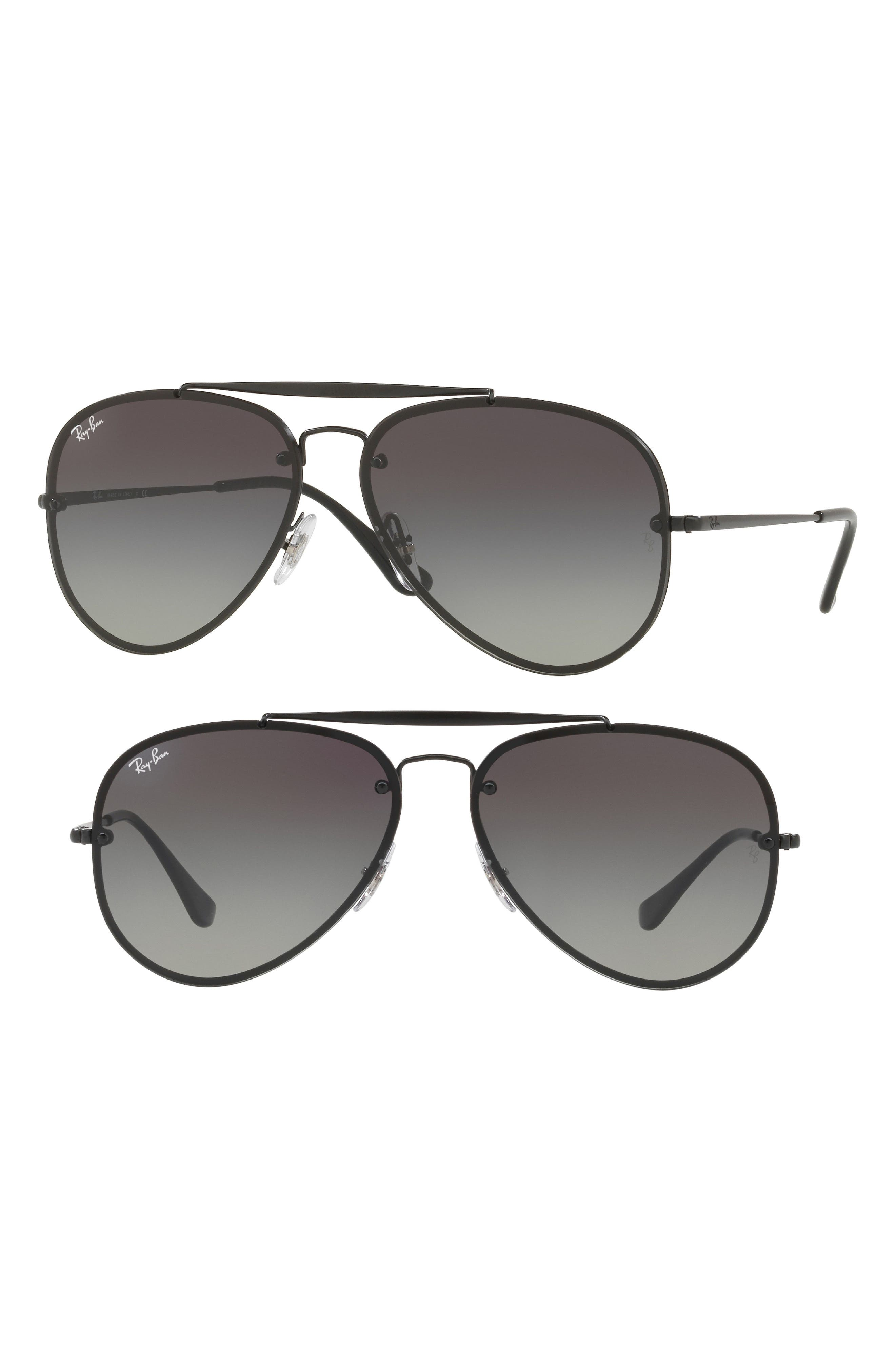 58mm Aviator Sunglasses,                         Main,                         color, Shiny Black