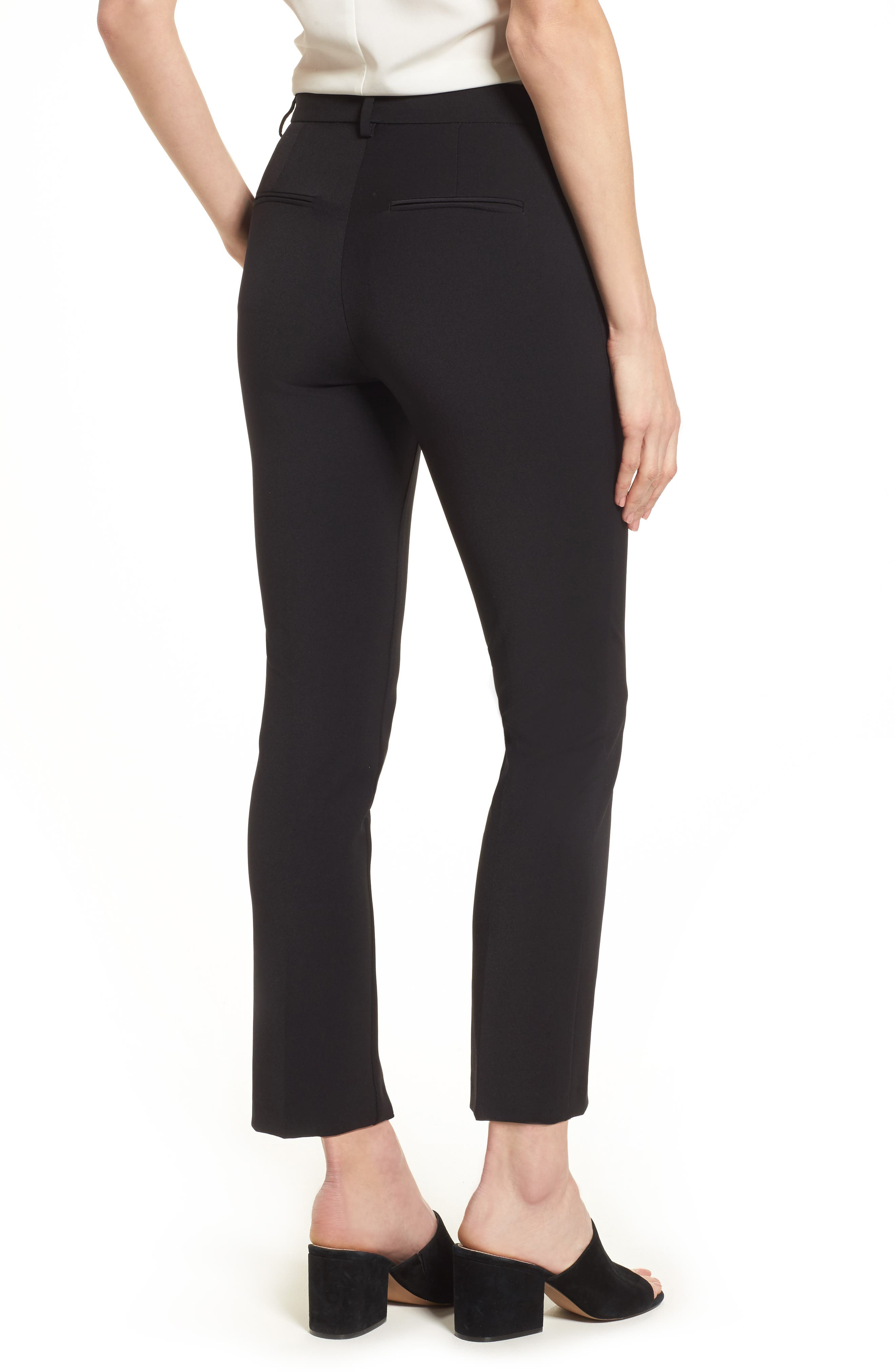Maron Straight Leg Seamed Pants,                             Alternate thumbnail 2, color,                             Black
