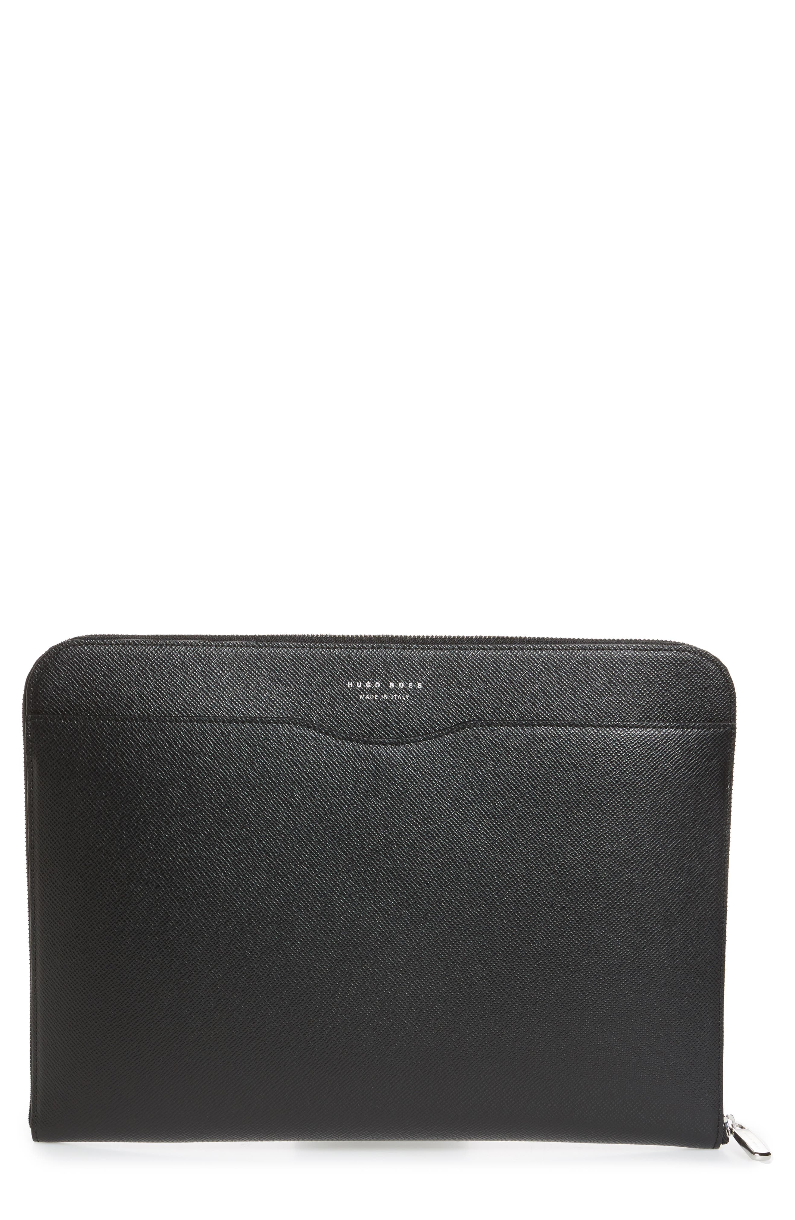 Signature Leather Portfolio,                             Main thumbnail 1, color,                             Black
