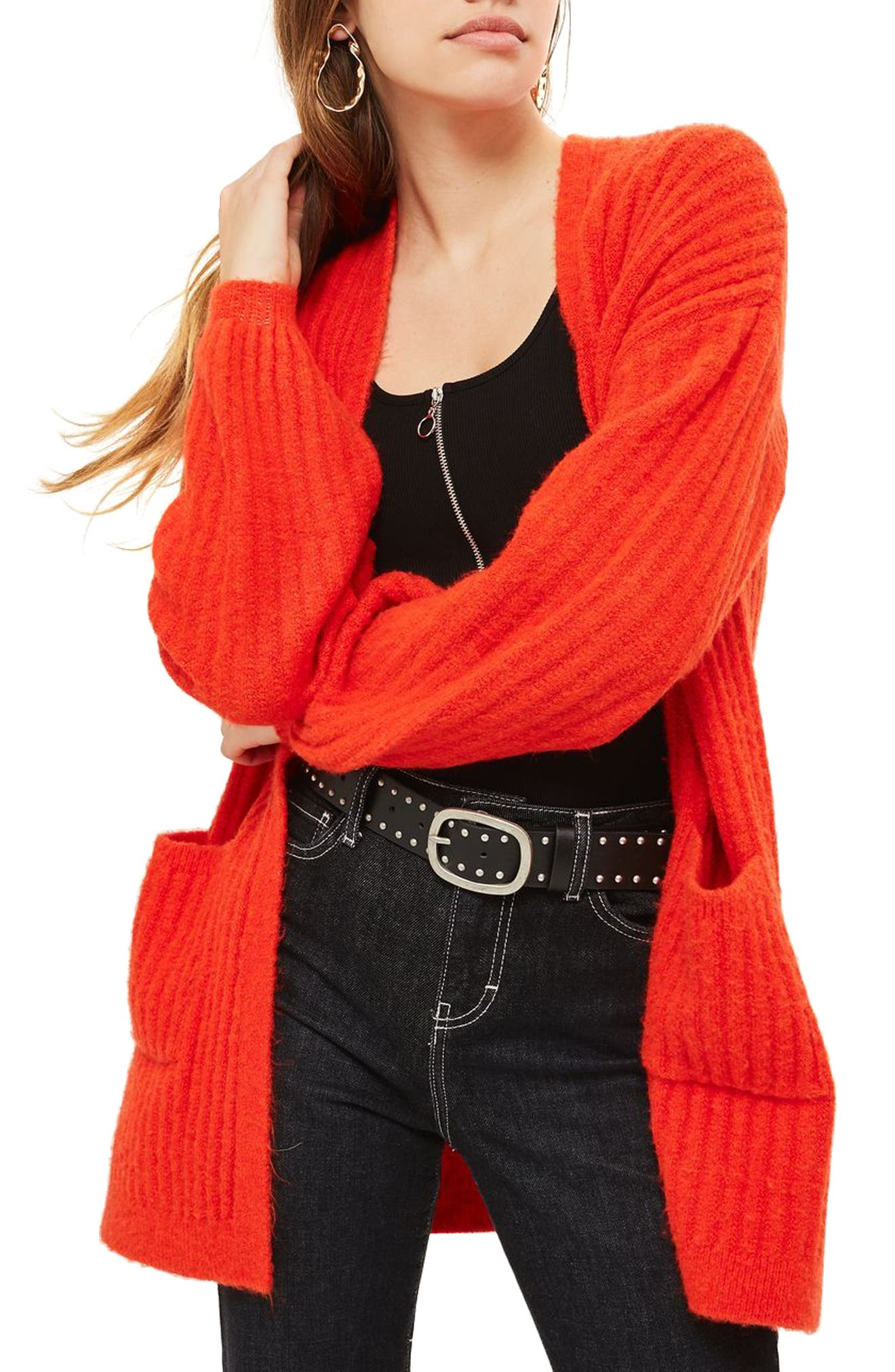 Wide Rib Cardigan,                         Main,                         color, Red
