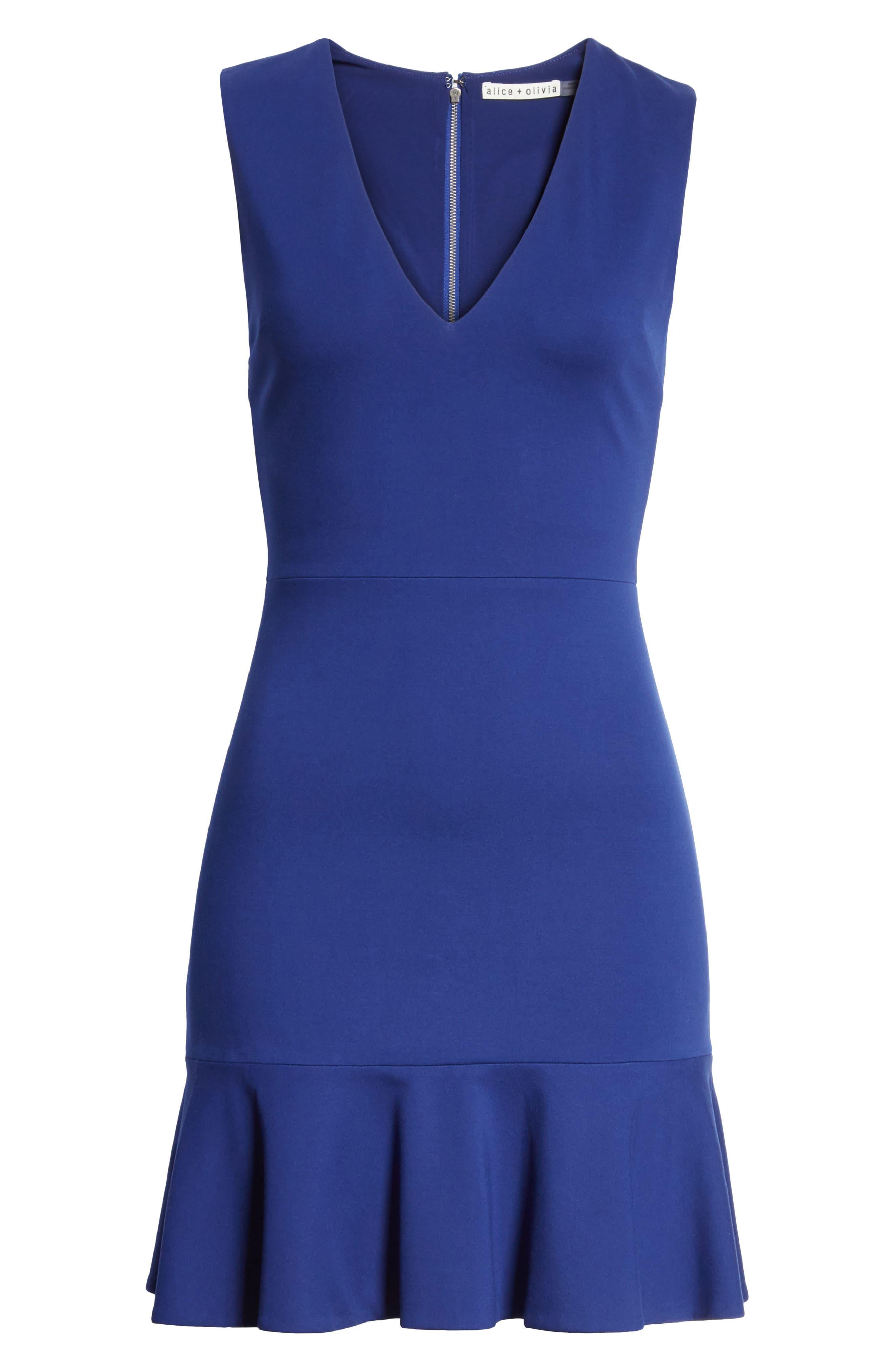 Alternate Image 6  - Alice + Olivia Onella Peplum Hem Fit & Flare Dress