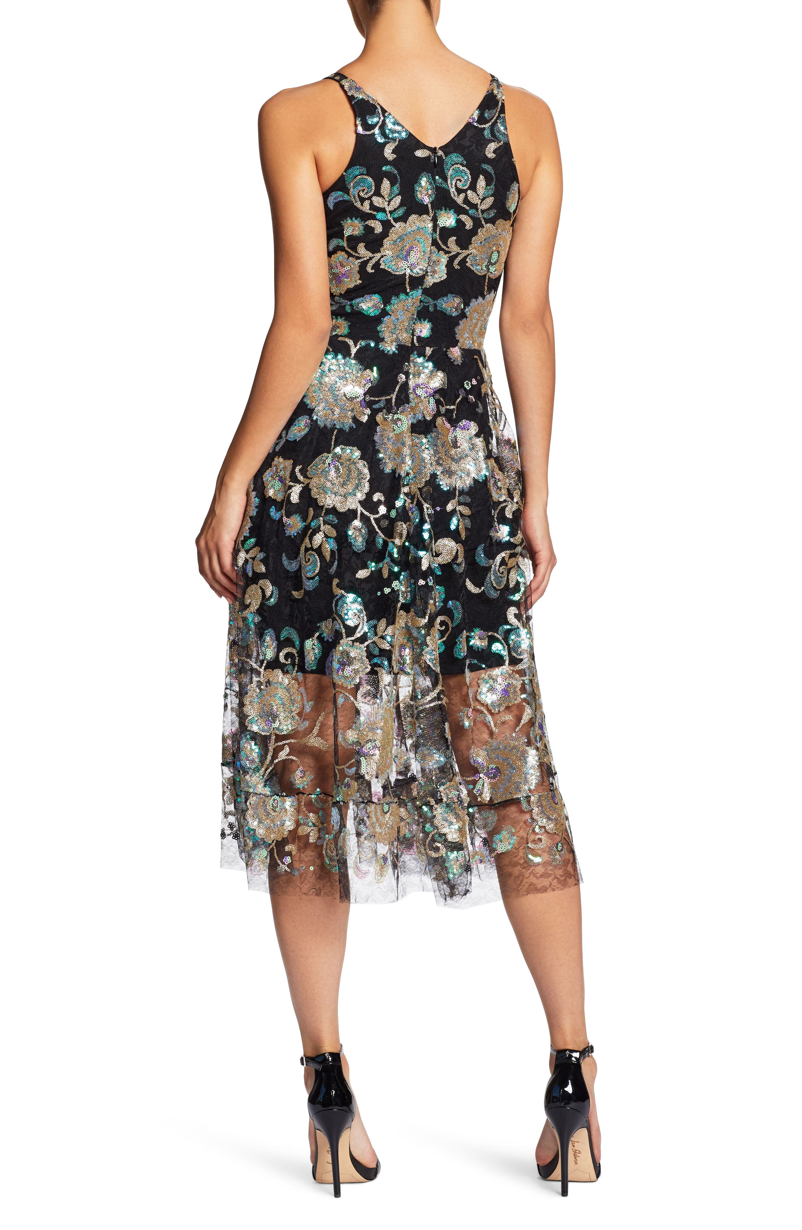 Audrey Sequin Embroidered Midi Dress,                             Alternate thumbnail 3, color,                             Black/ Iridescent Floral
